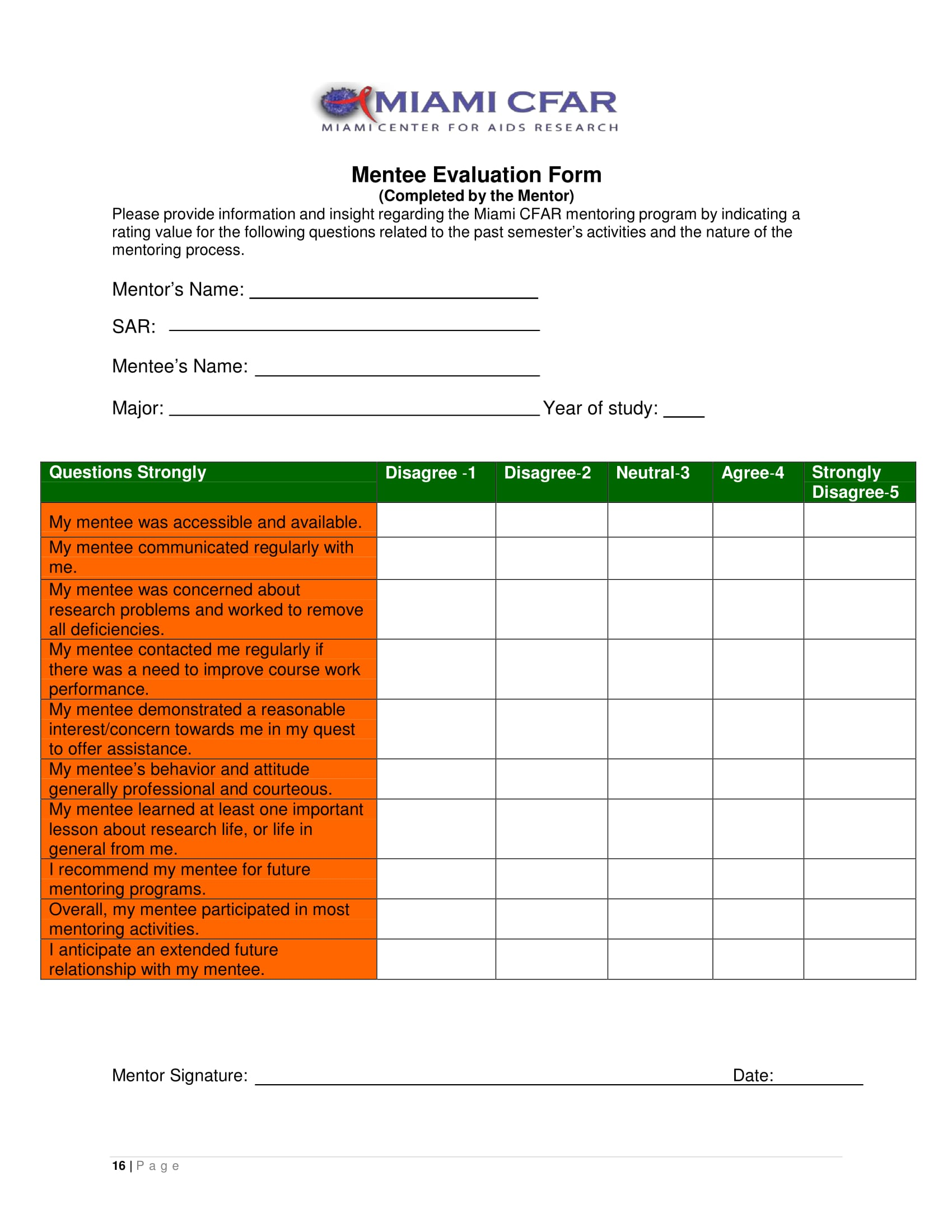 research mentee evaluation form 1
