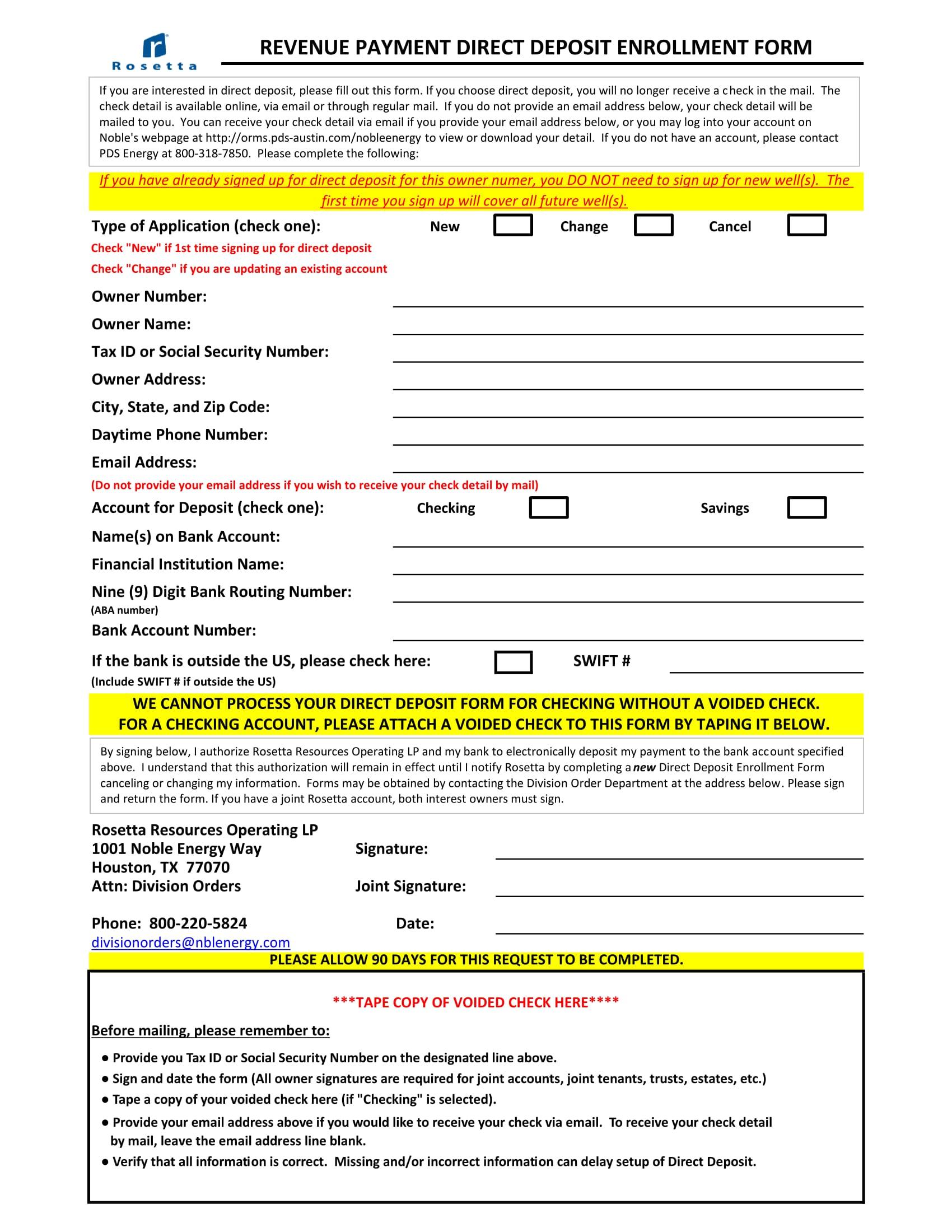 revenue payment direct deposit enrollment form 1