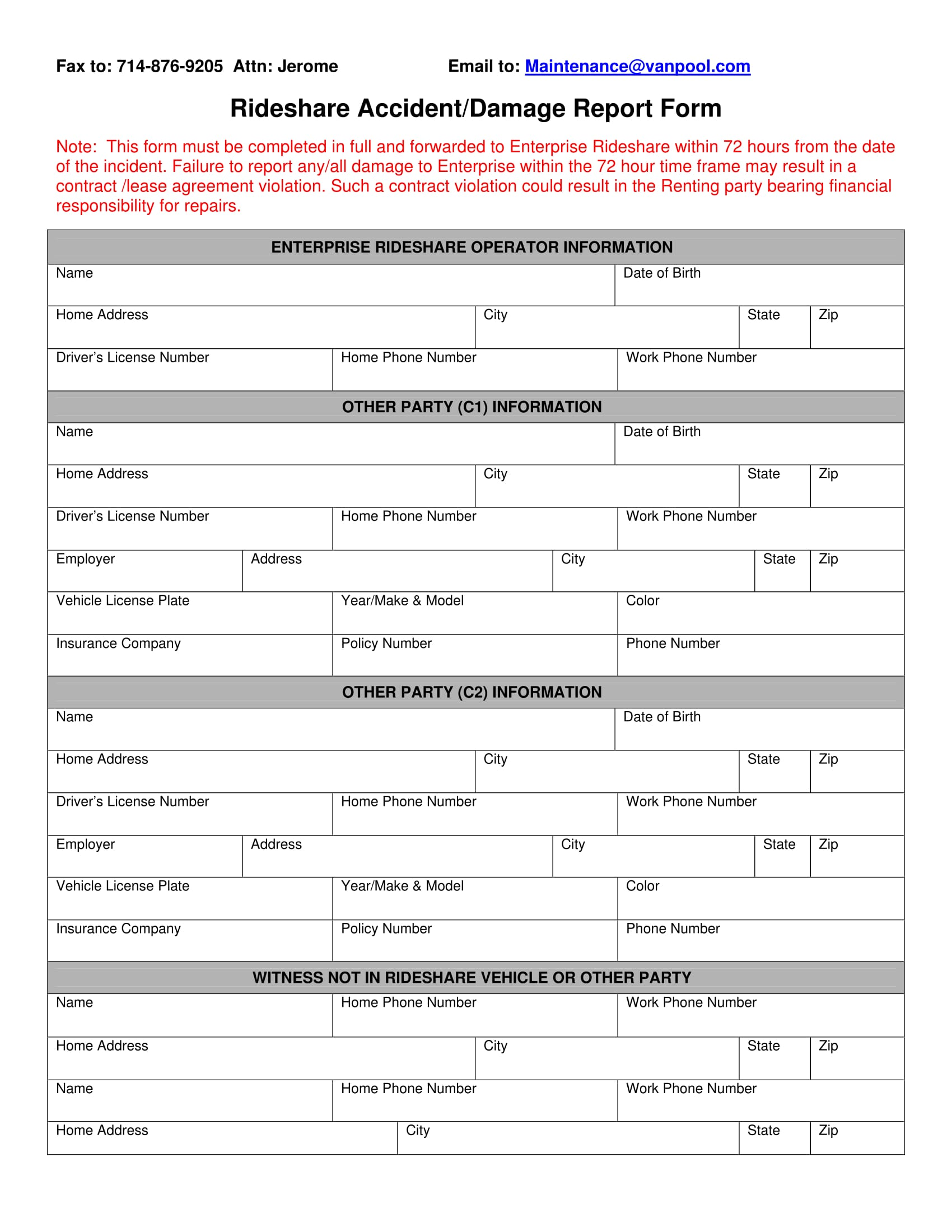 rideshare accident or damage report form 1