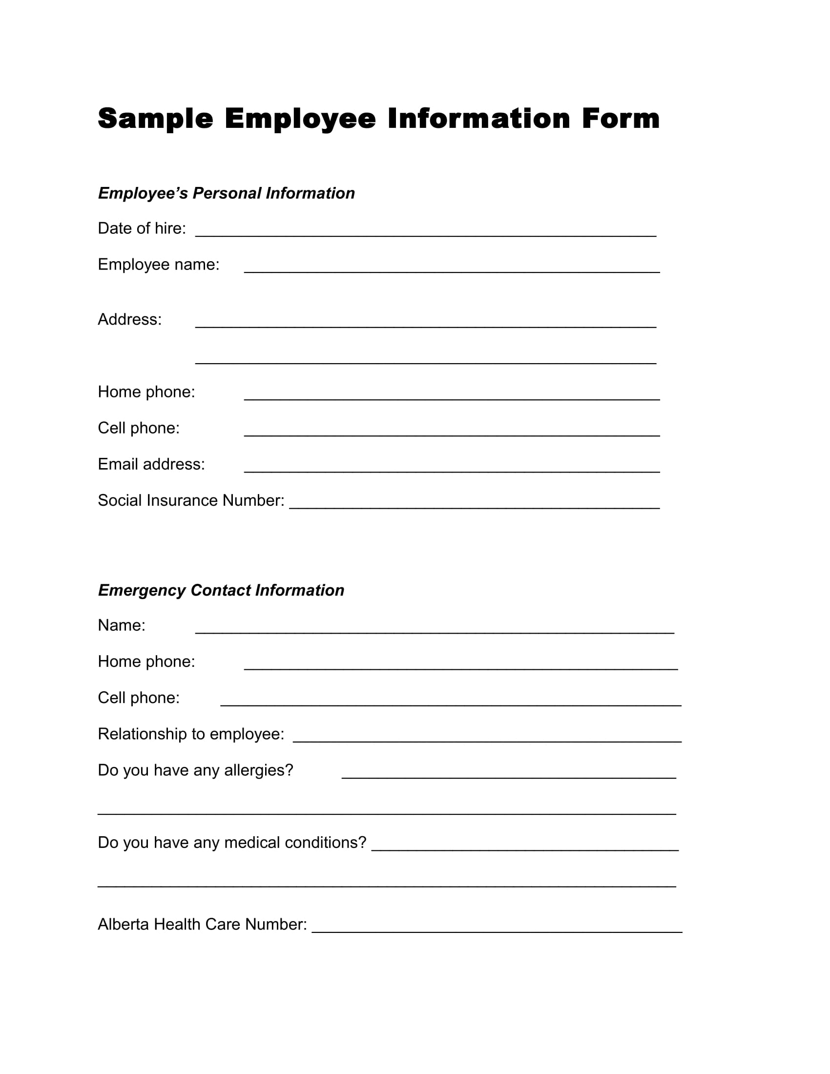 sample employee information form 1