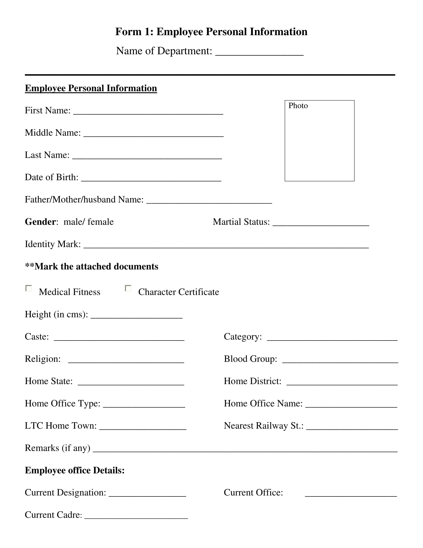 sample employee personal information form 01