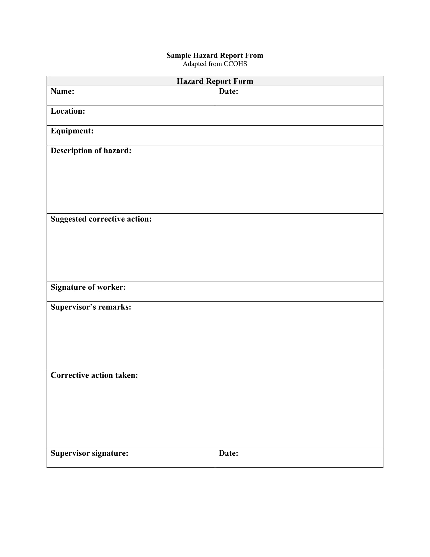 sample hazard report form 11