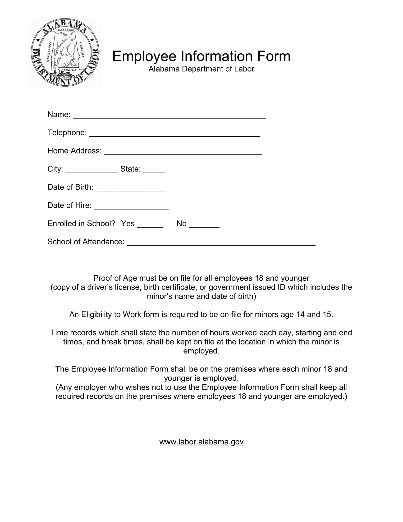 sample for employee information form 1