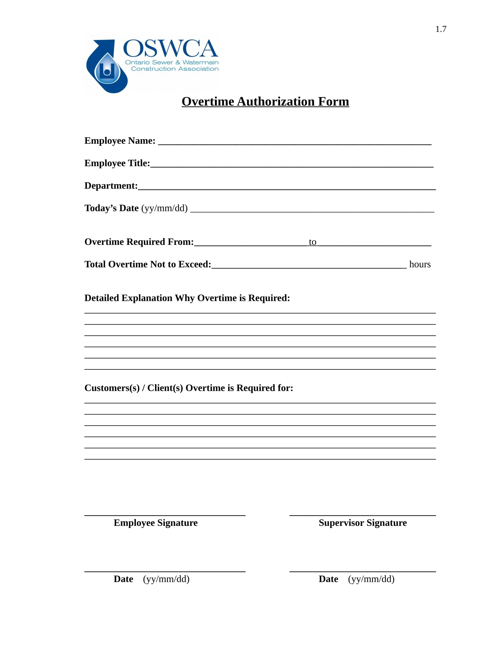 sewer employee overtime authorization form 1