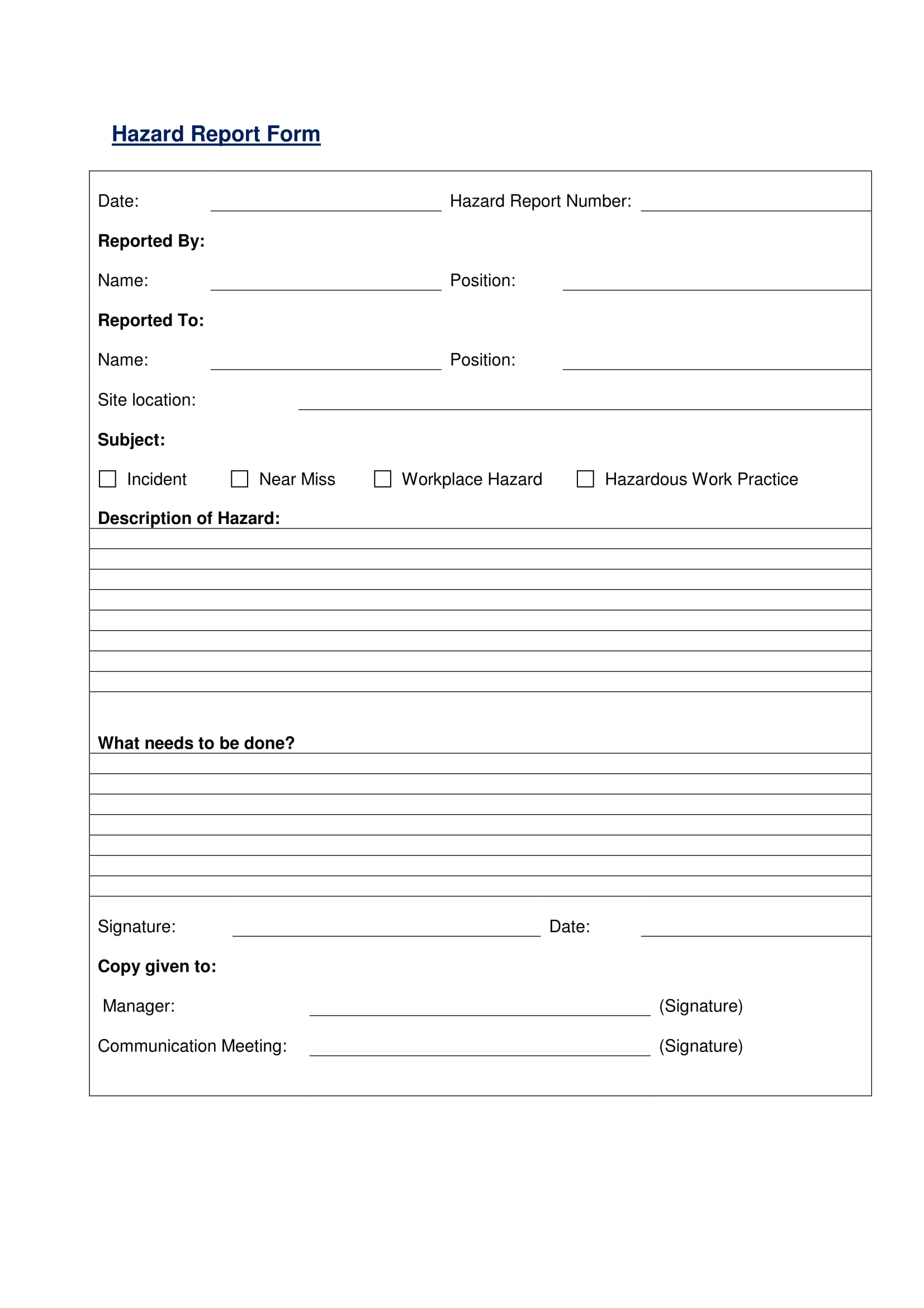 simple hazard report form 1