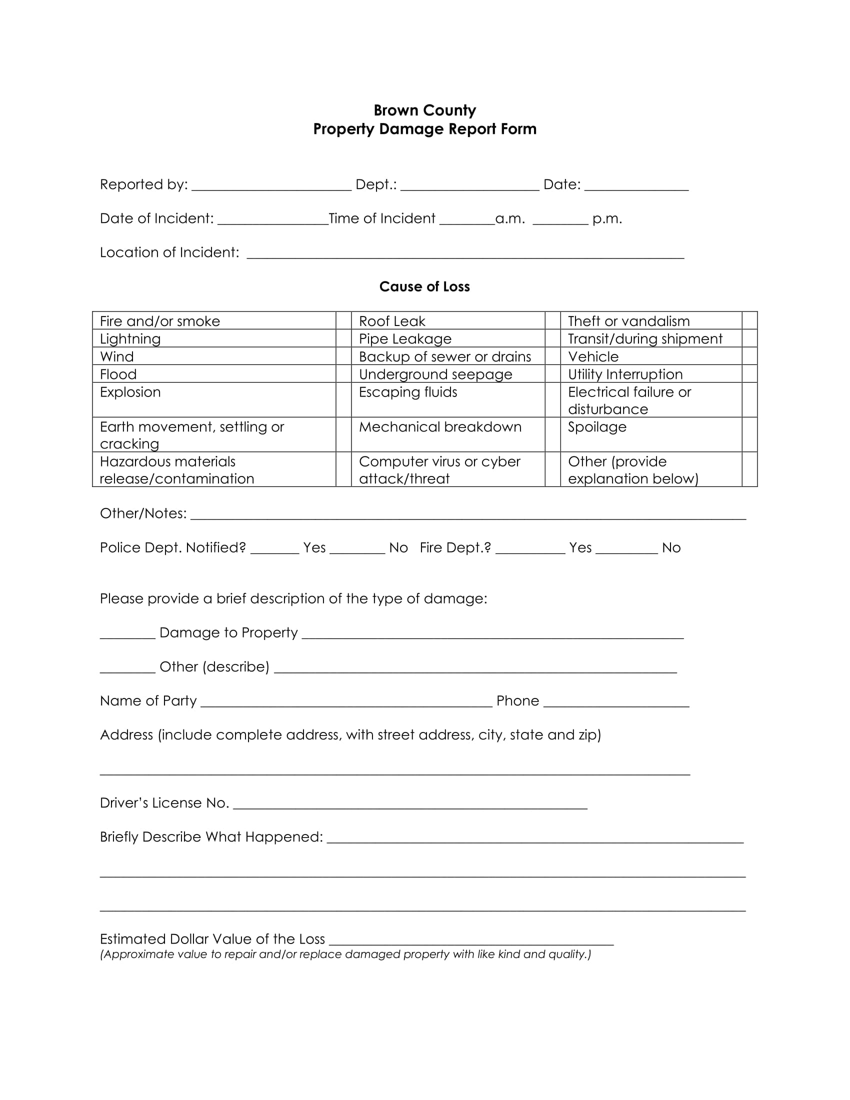 simple property damage report form 1