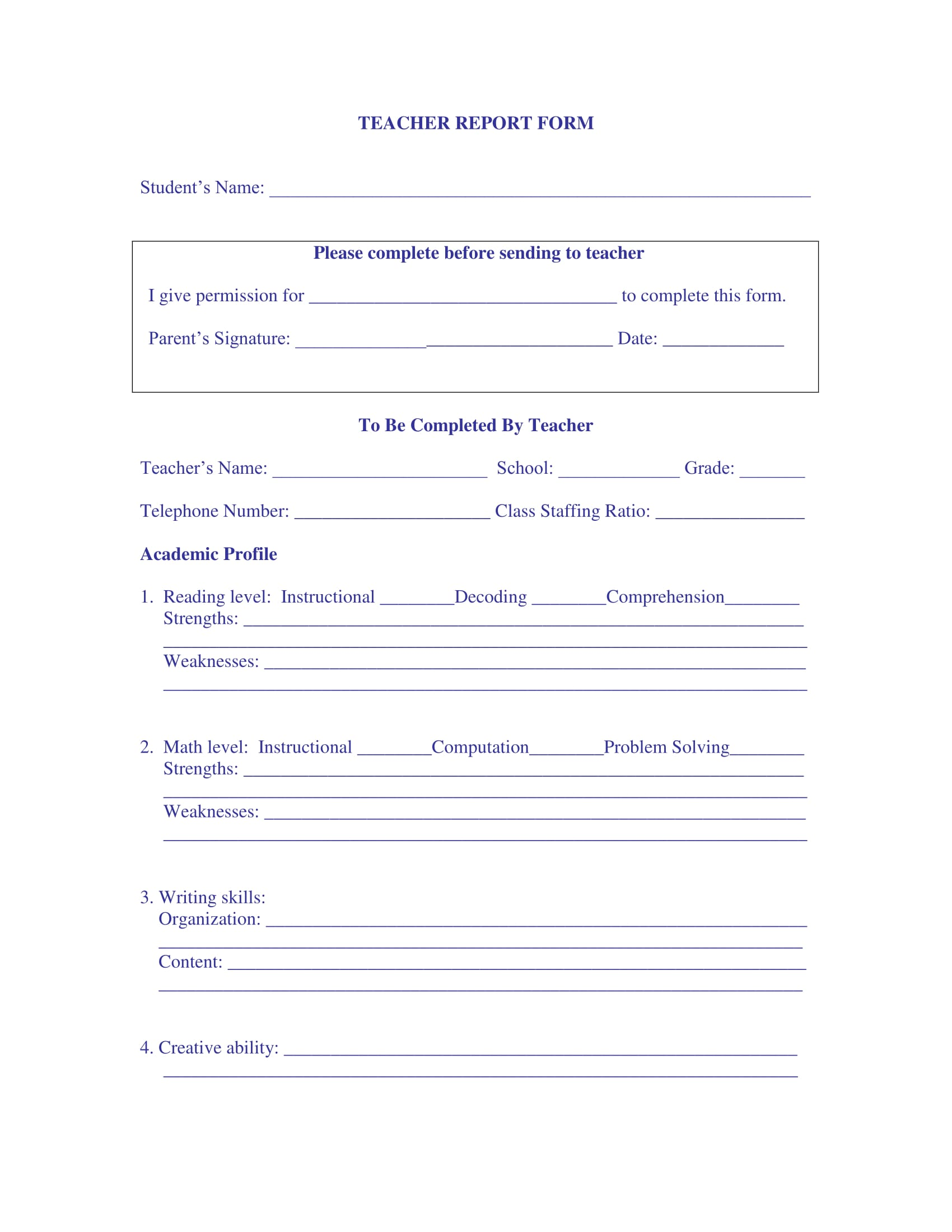 simple teacher report form 1