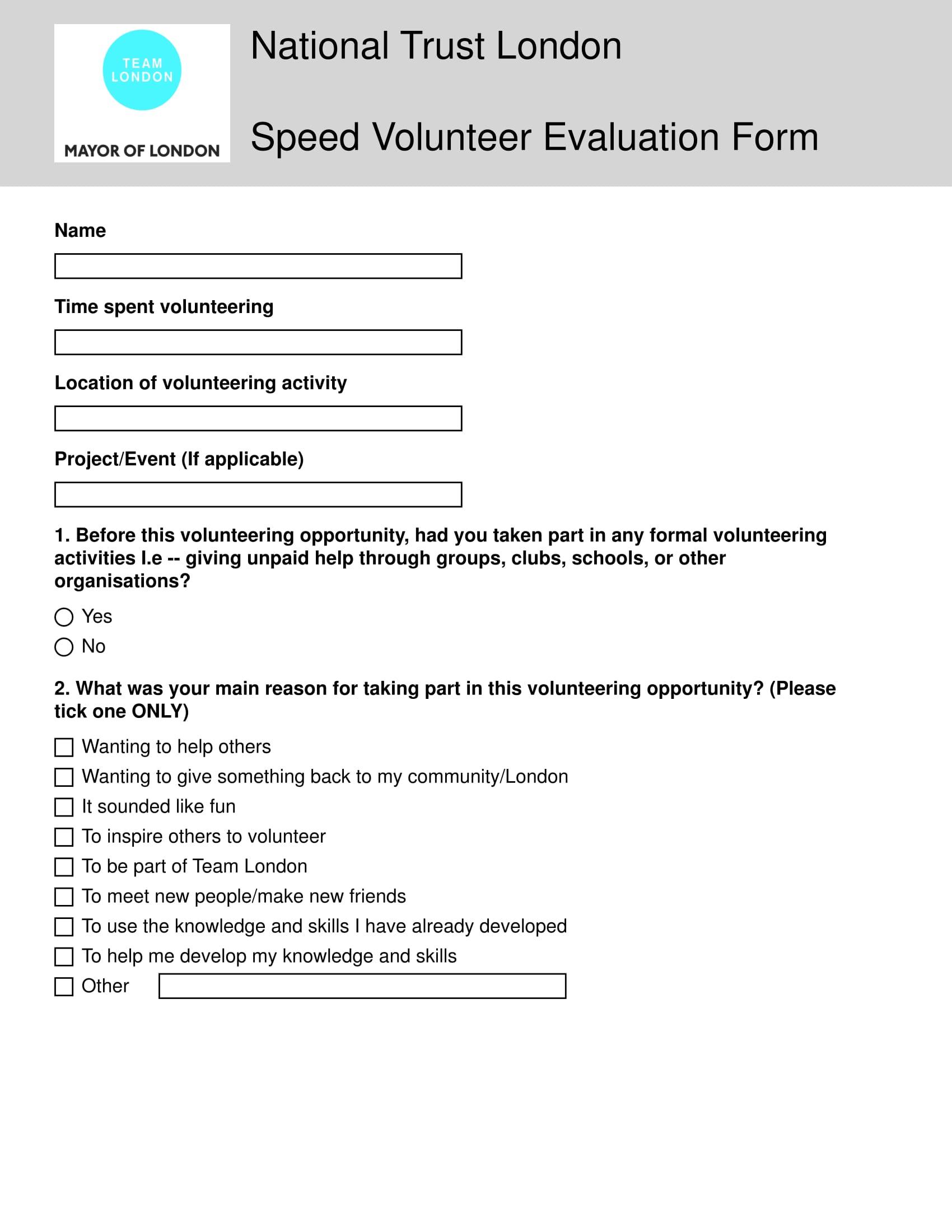 speed volunteer evaluation form 1
