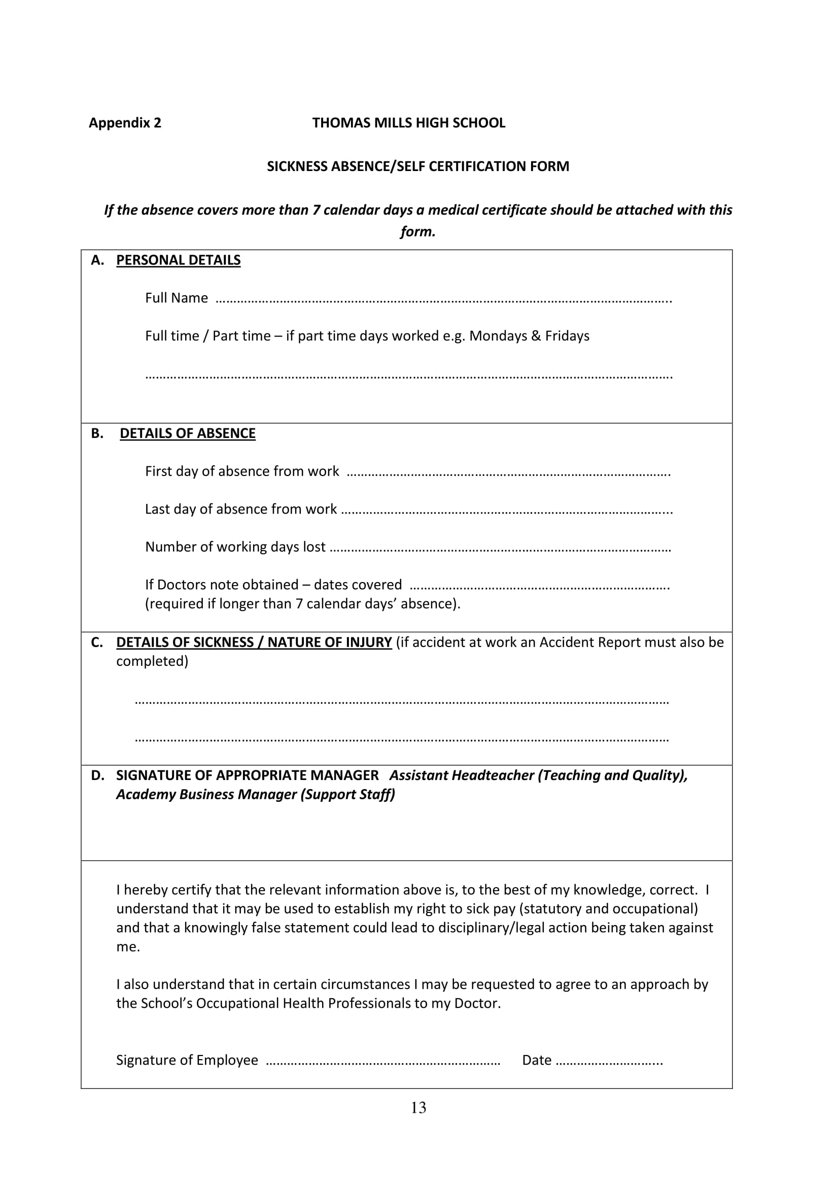 staff absence certification form 13