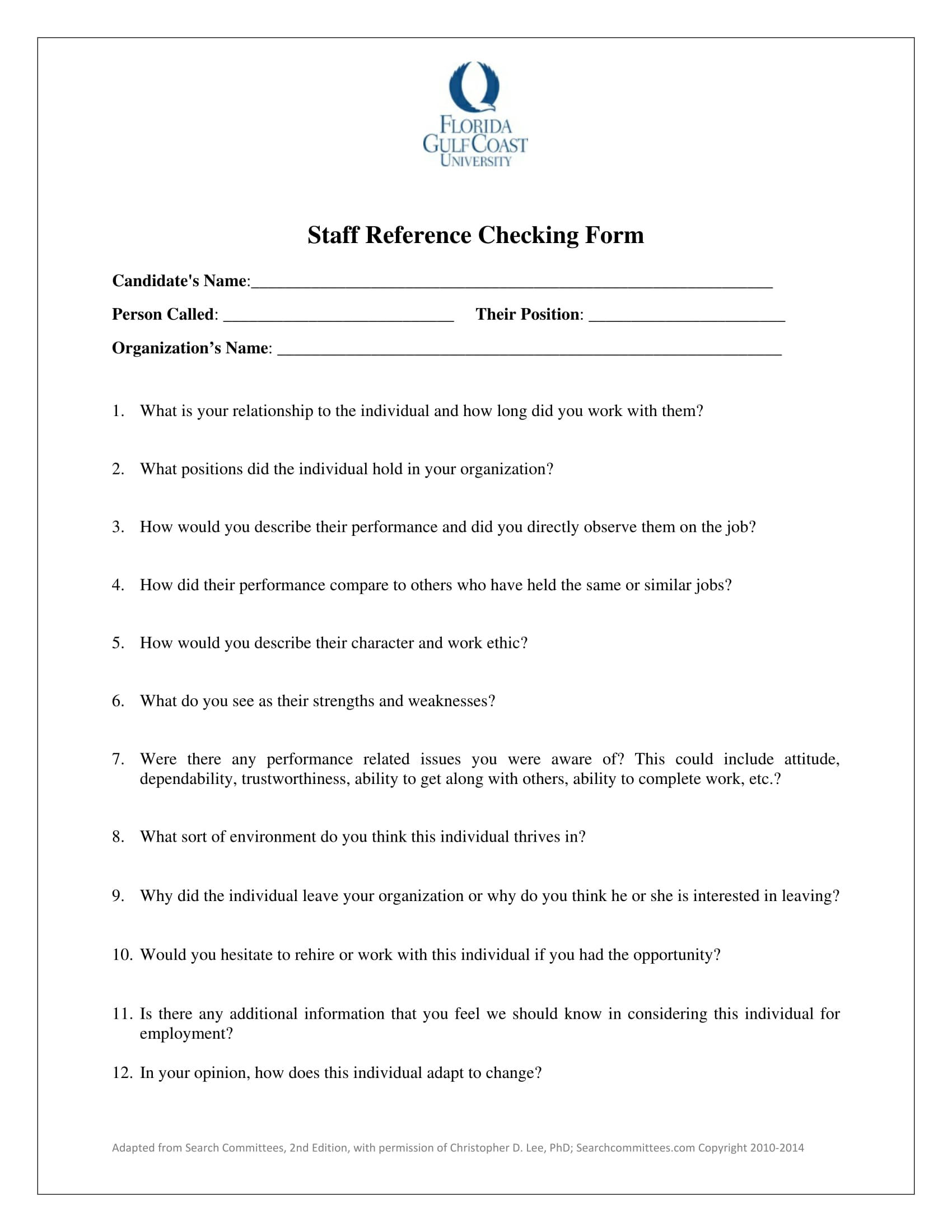 staff reference checking form 1