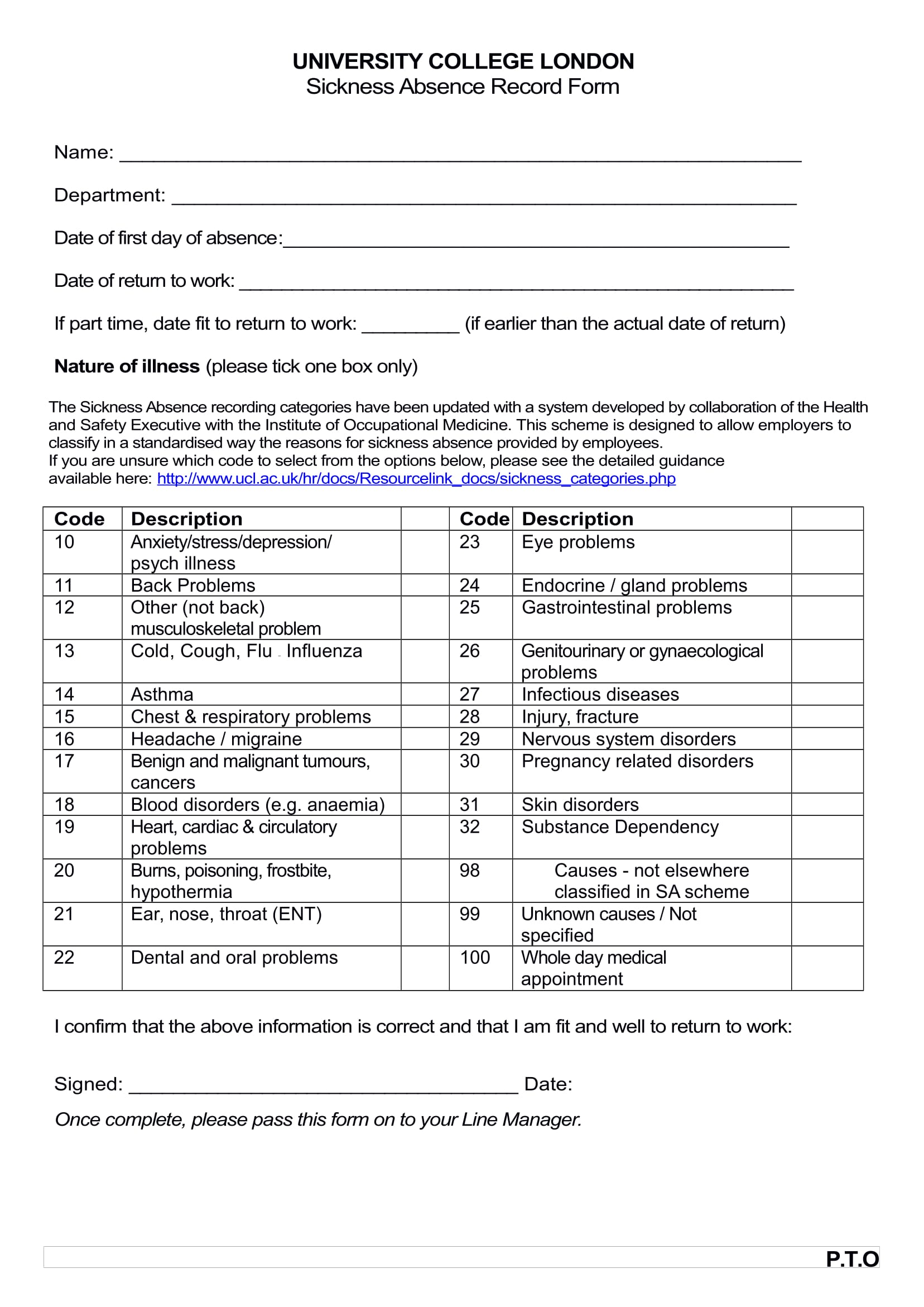 staff sickness absence record form 1