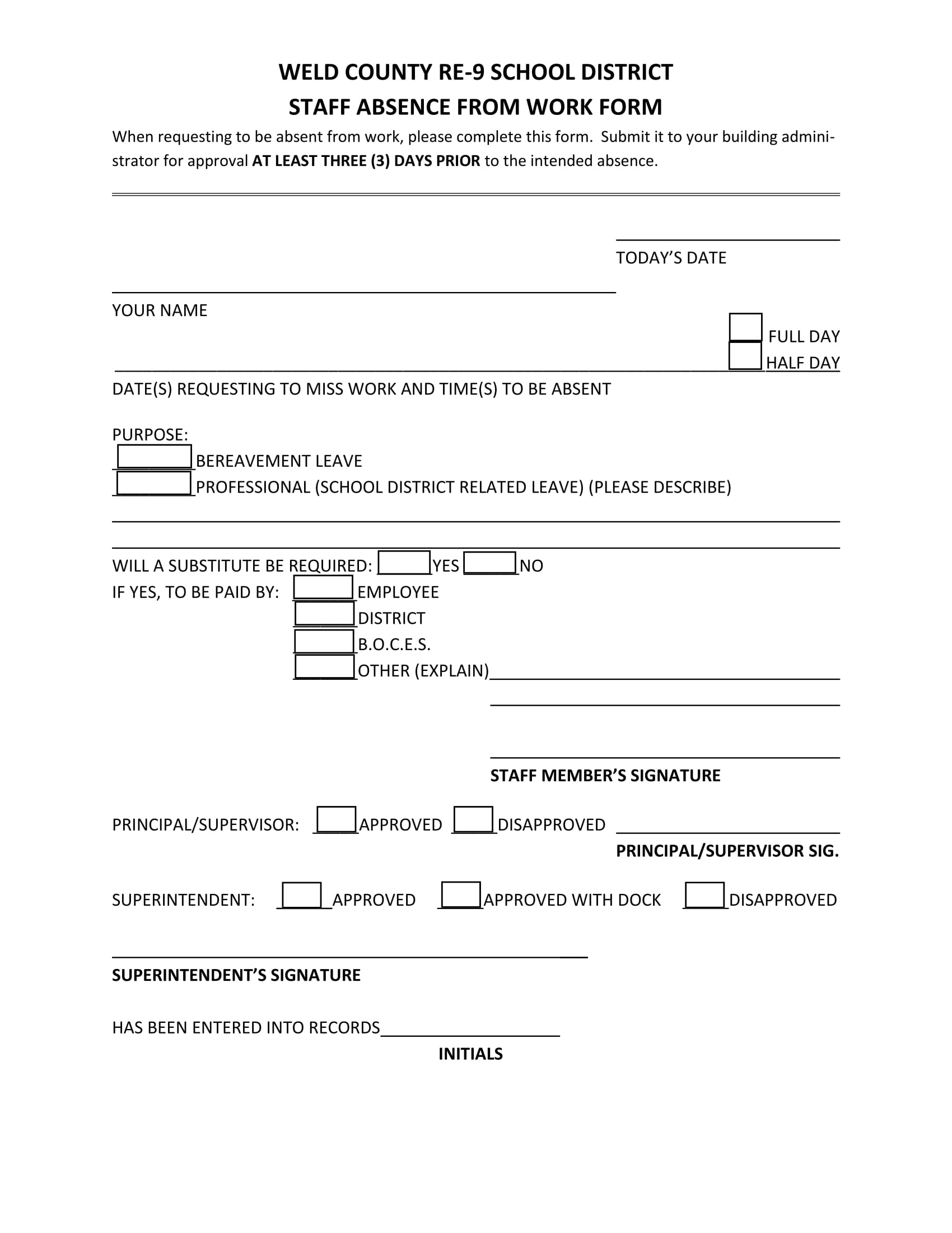 14 staff absence forms free word excel pdf format download