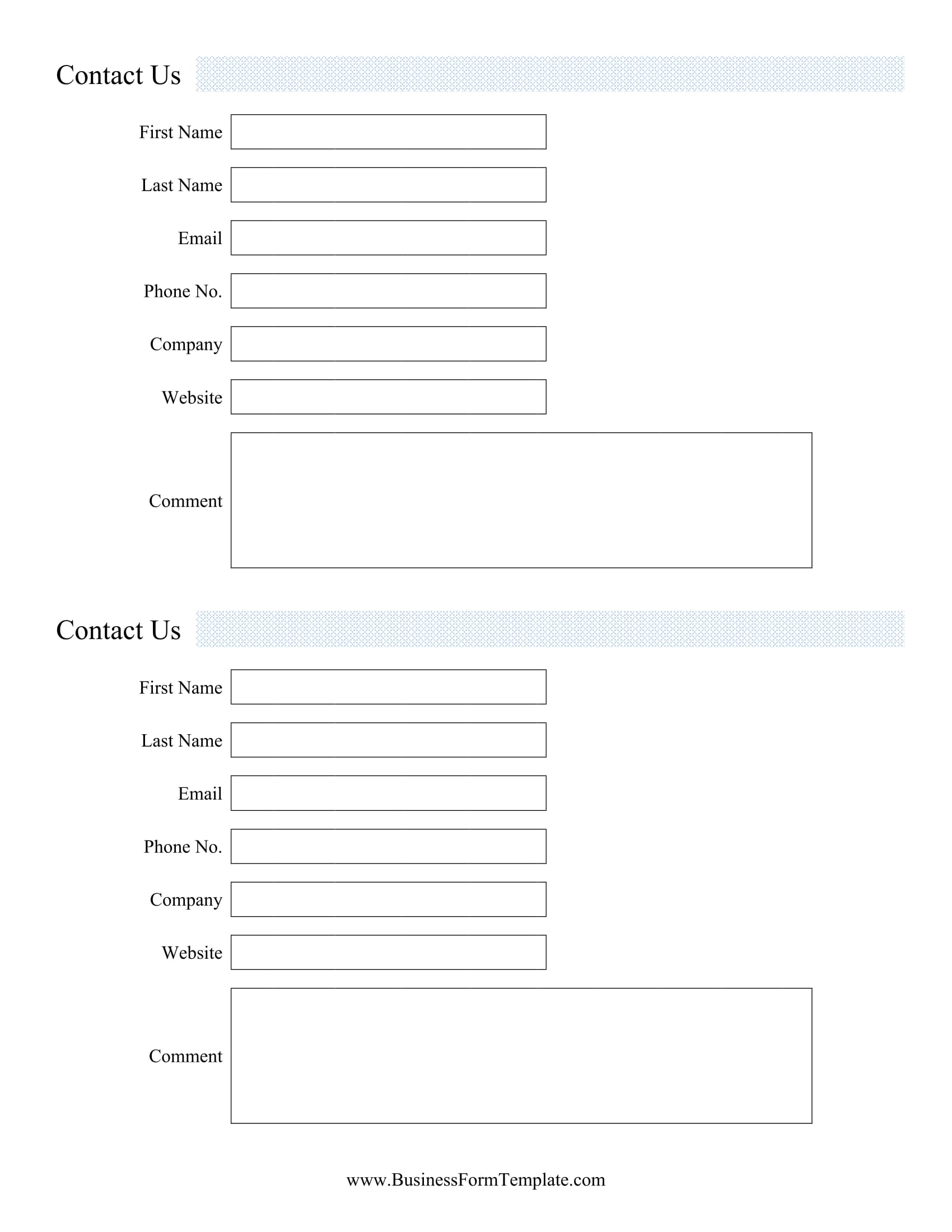 standard contact information form 1