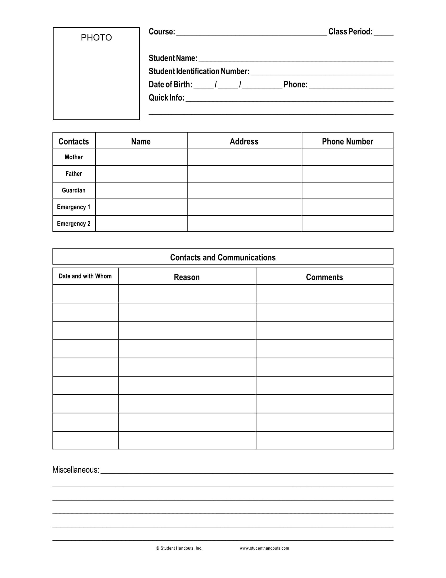 standard student information form 1