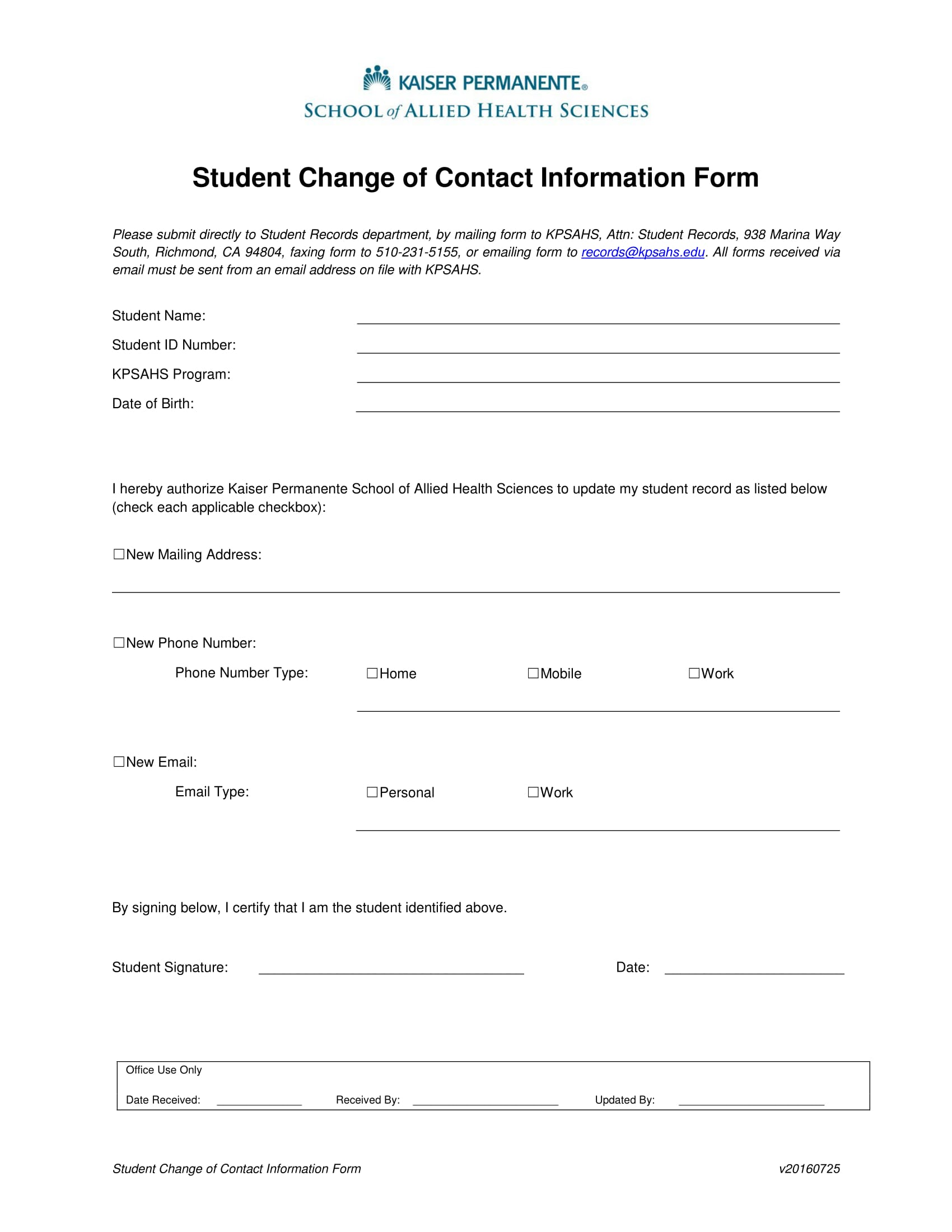 student change of contact information form 1