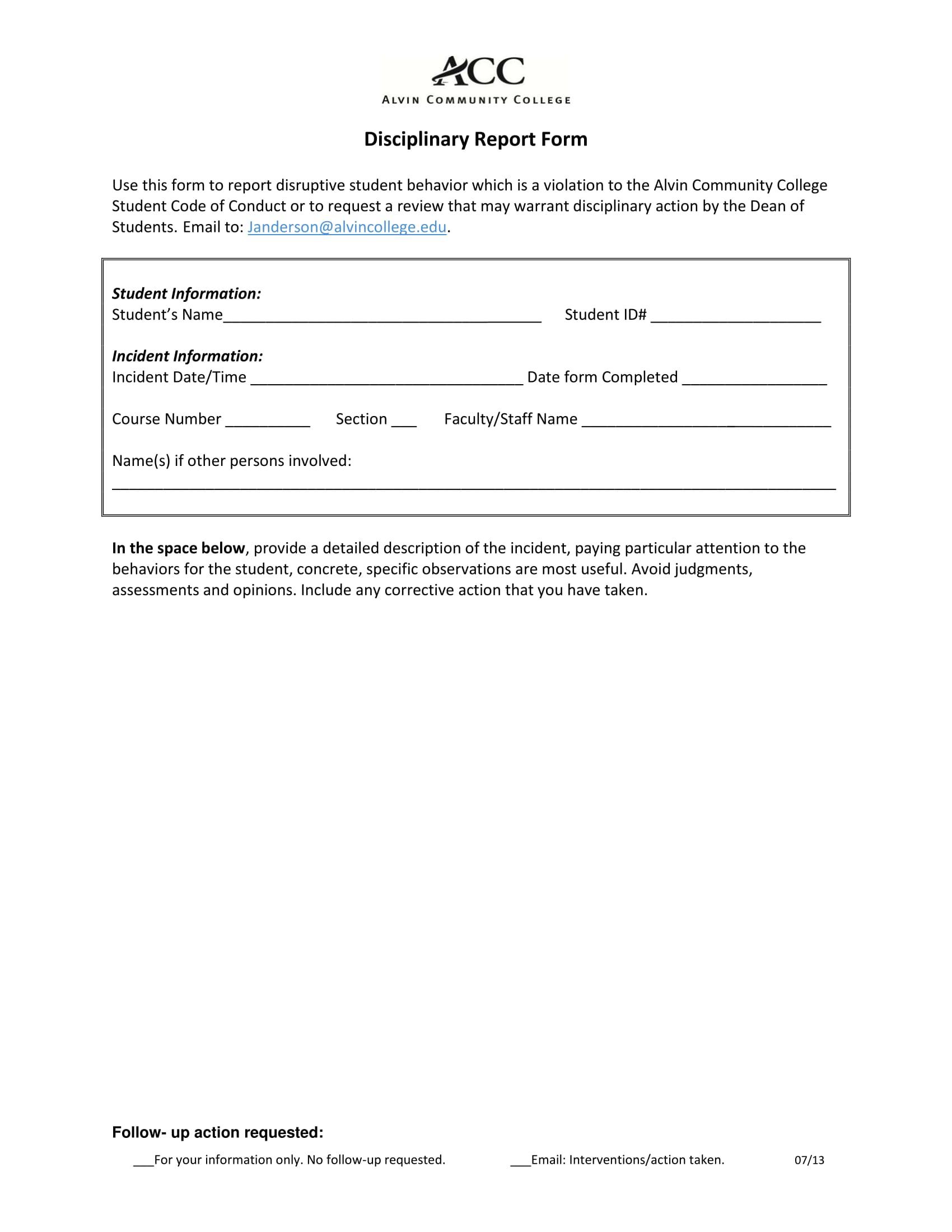 student disciplinary report form 1