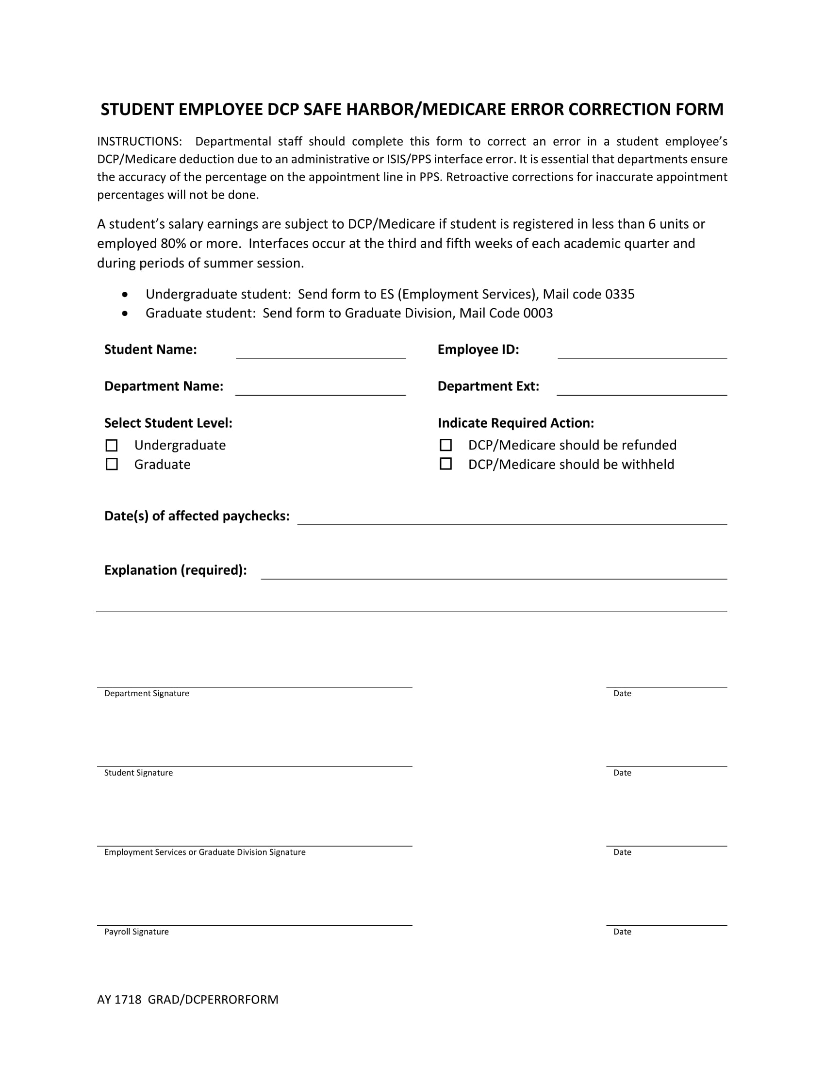 student employee medicare correction form 1