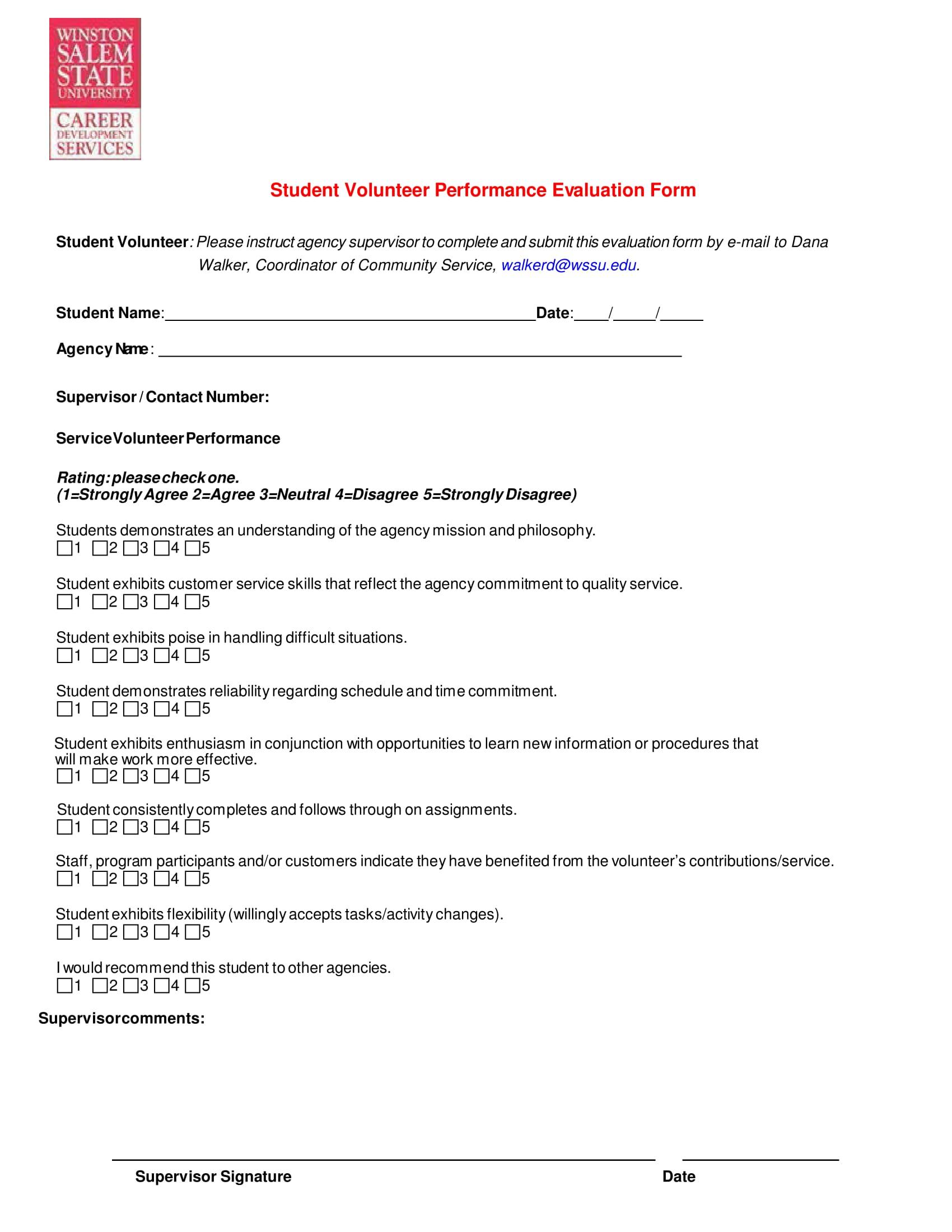 student volunteer performance evaluation form 1