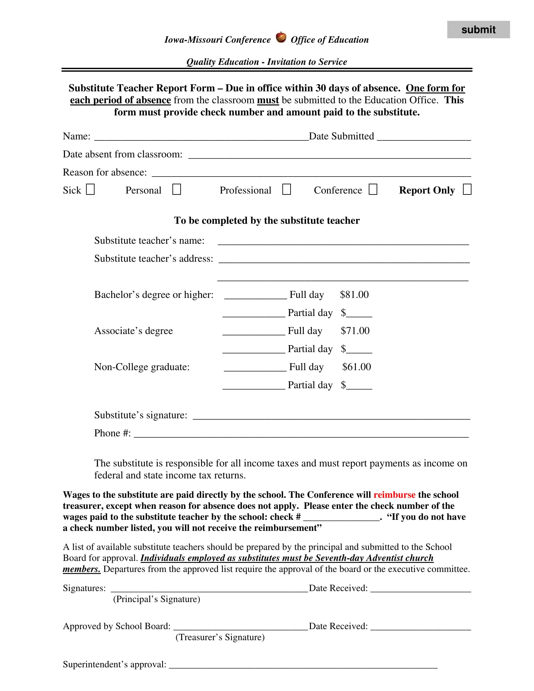 substitute teacher report form 1