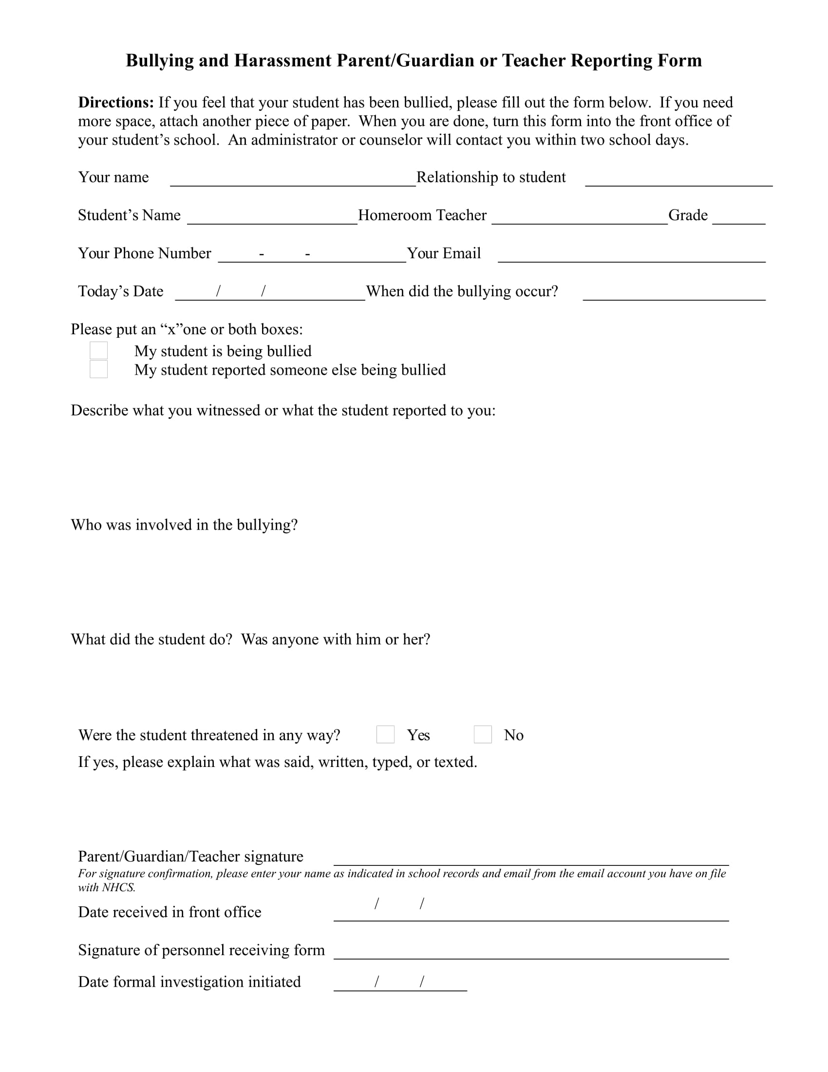 teacher report form for harassment 1