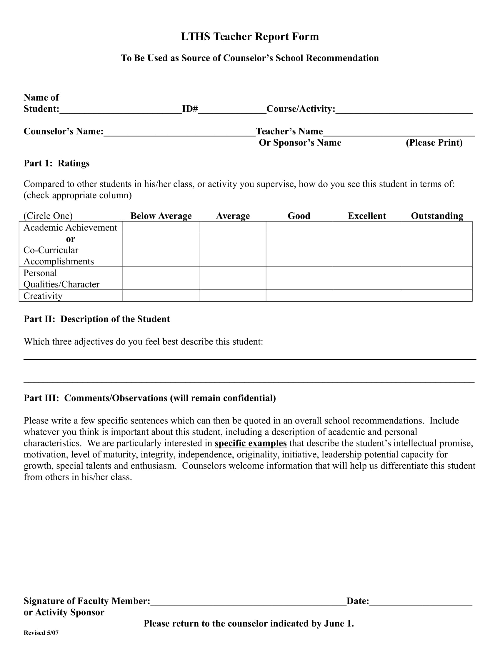 teacher report form for recommendation 1