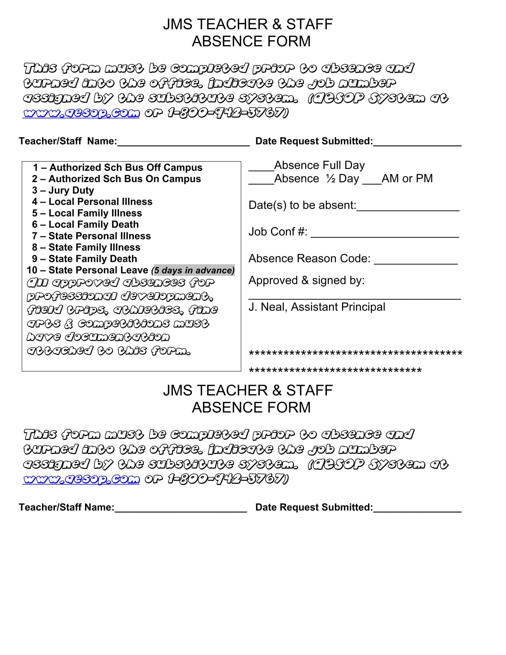 teacher staff absence form 1