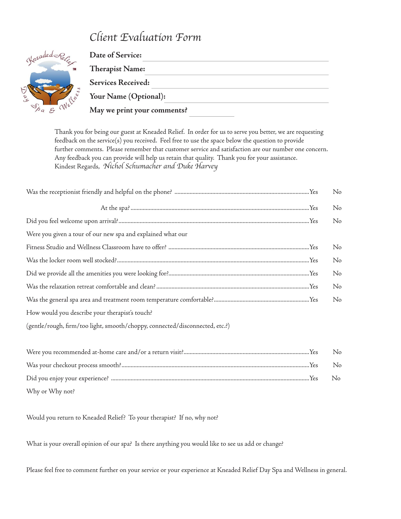 therapist customer service evaluation form 1