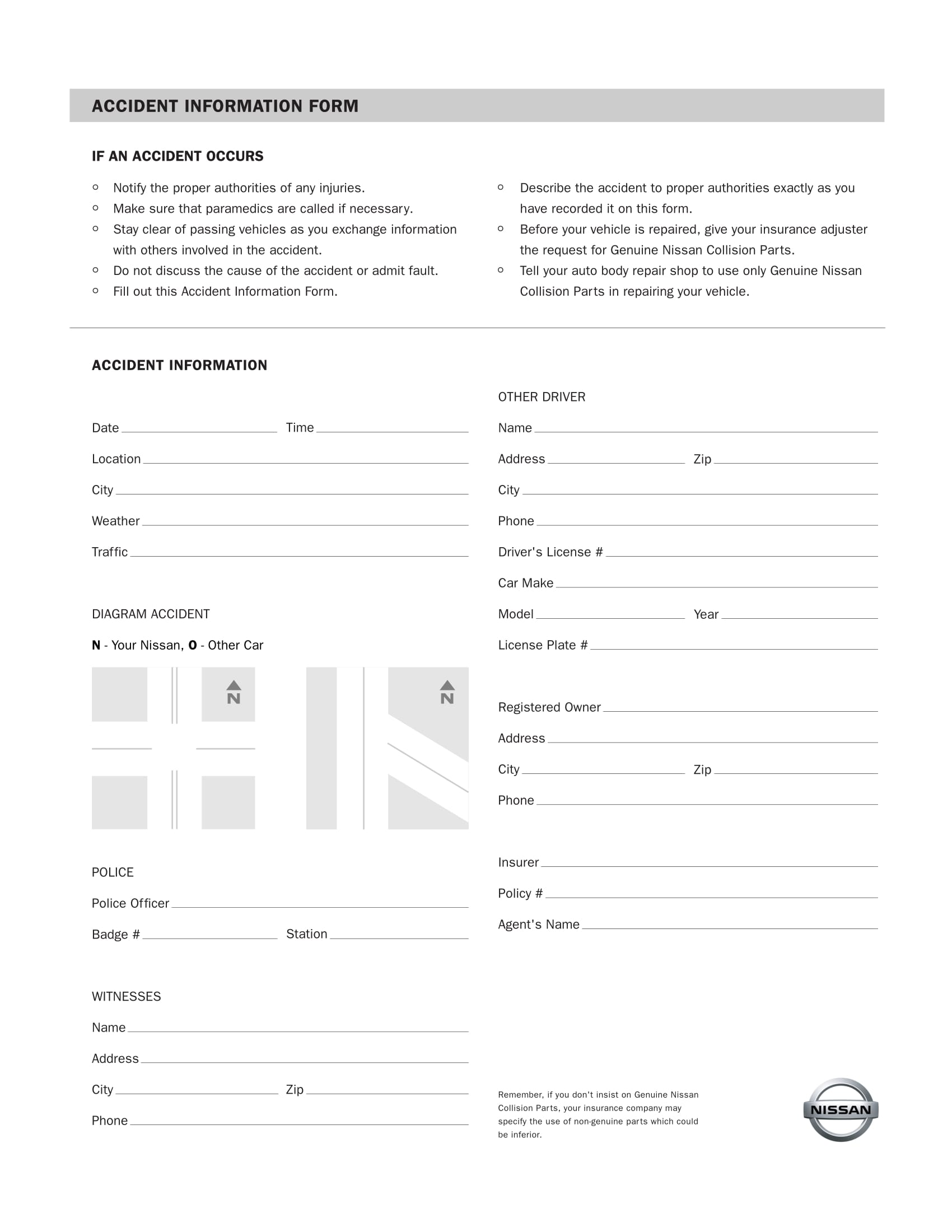 traffic collision accident information form 1