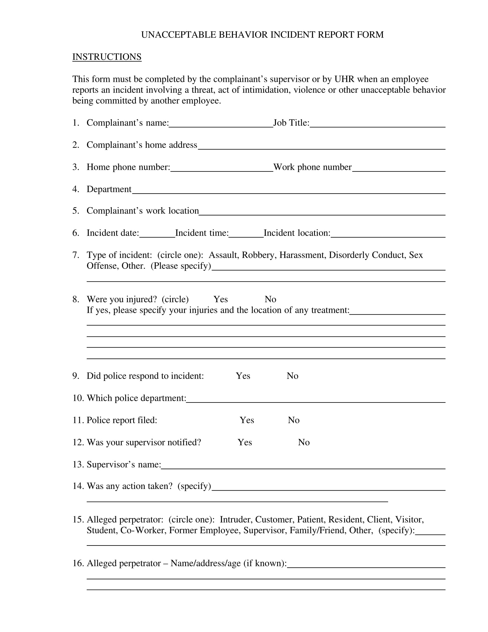 unacceptable behavior report form 1