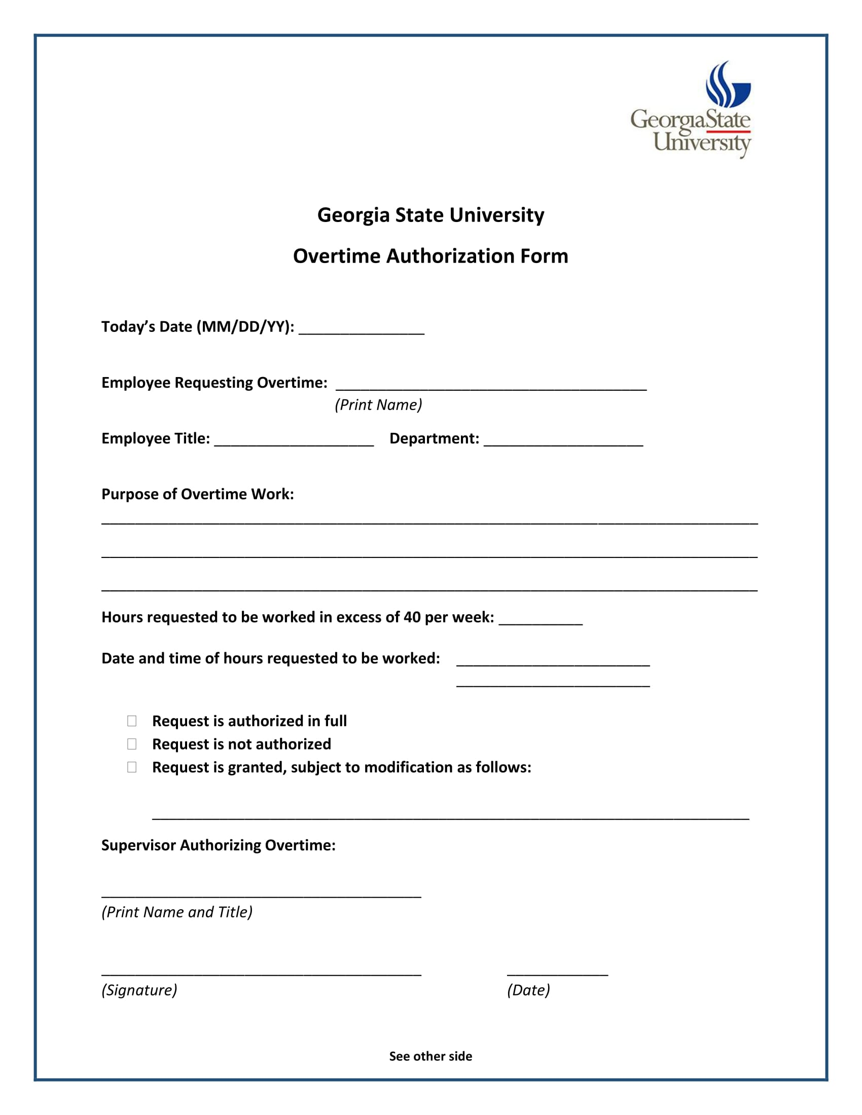 university employee overtime authorization form 1