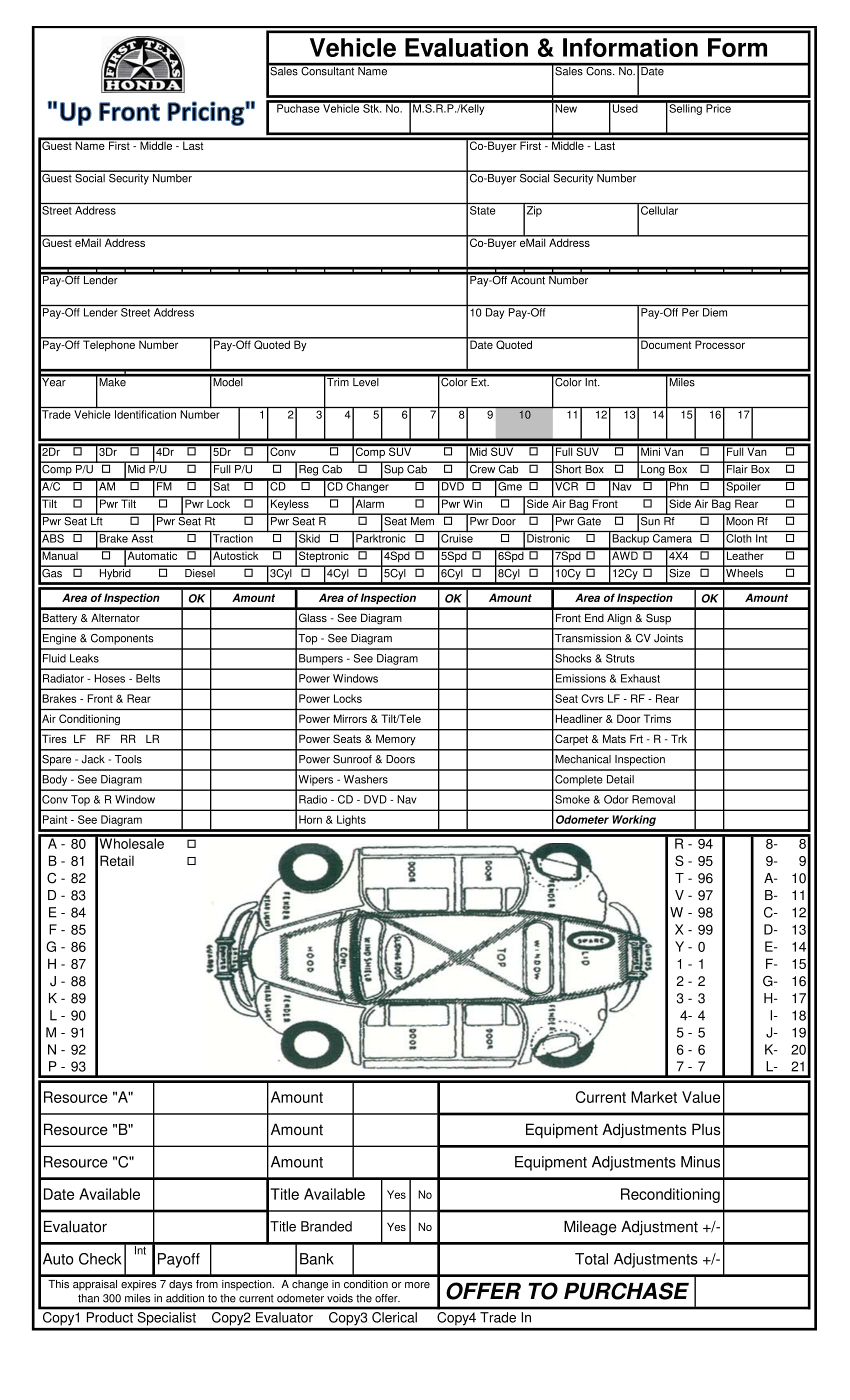 vehicle evaluation information form 1