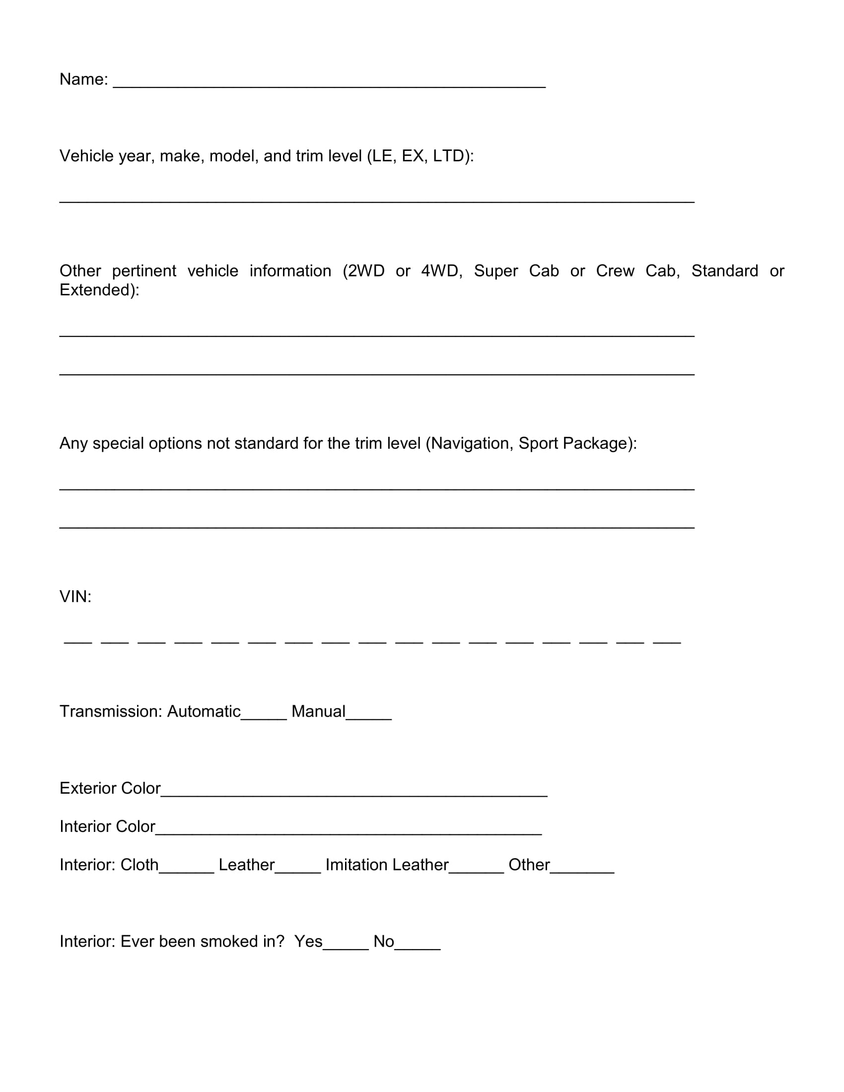 Presentation Evaluation Form Examples Editable Sample Meeting Vehicle Trade  In Evaluation Form 2 Presentation Evaluation Form