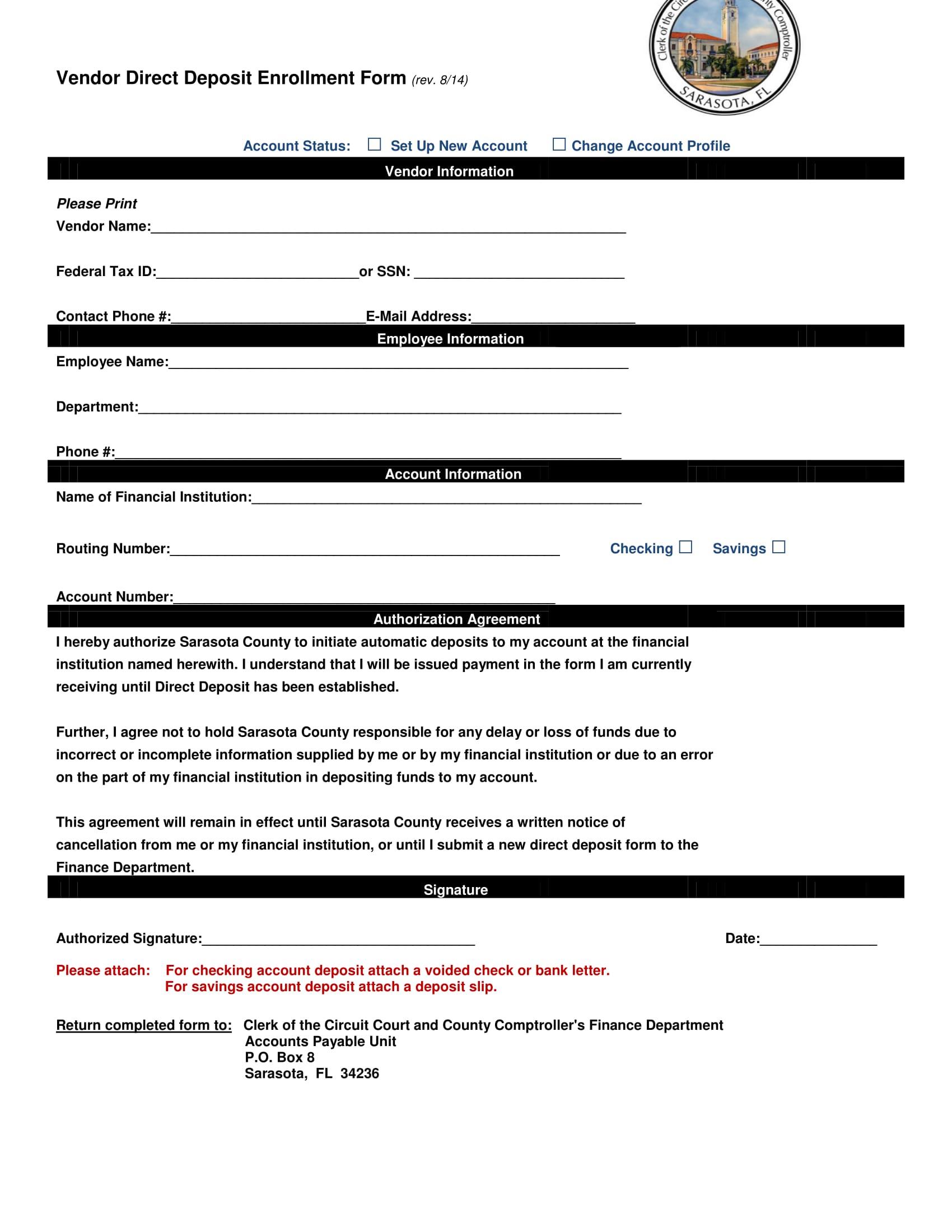 vendor direct deposit enrollment form 1