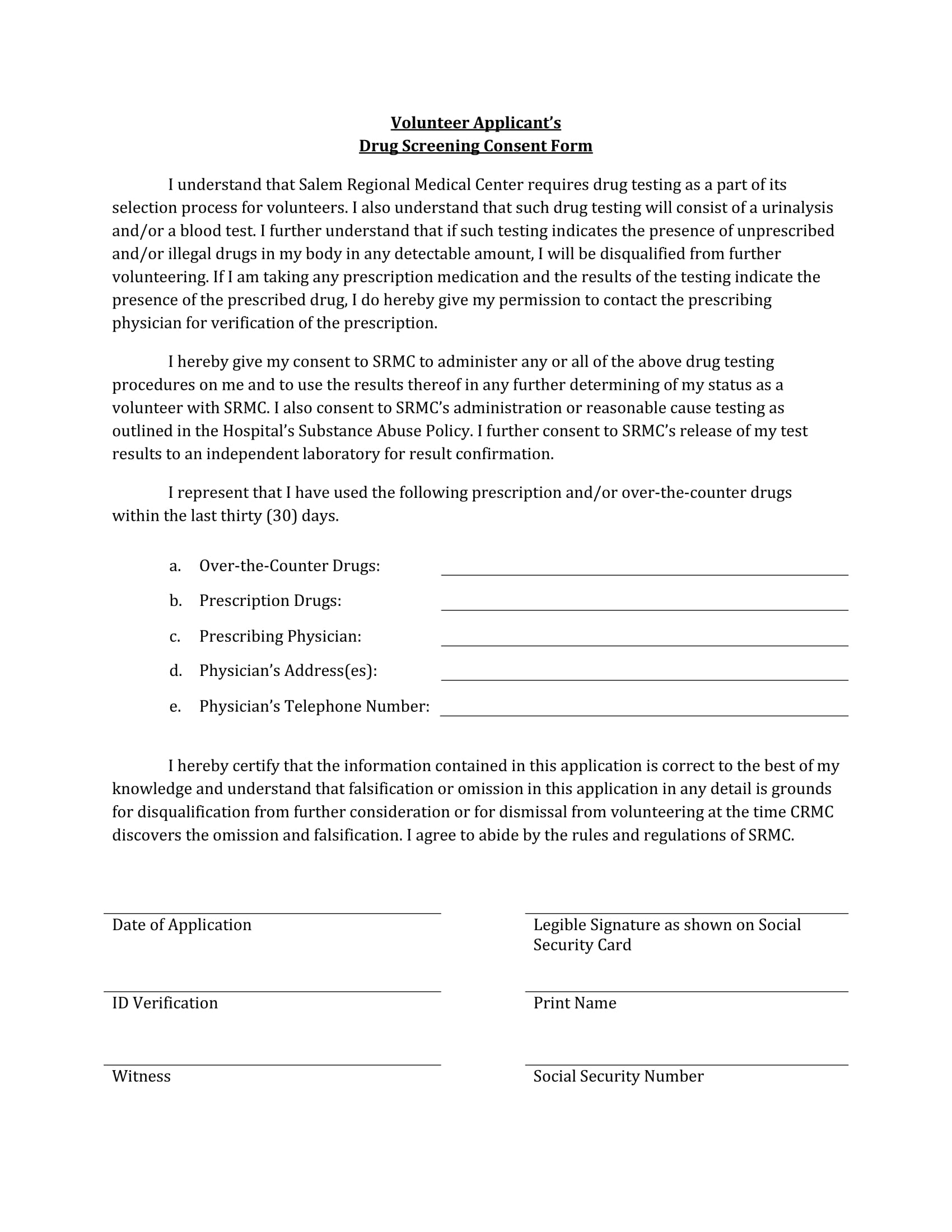 volunteer applicant drug test consent form 1