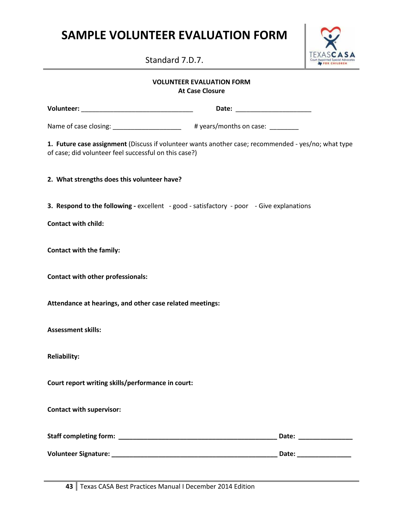 volunteer evaluation form sample 1