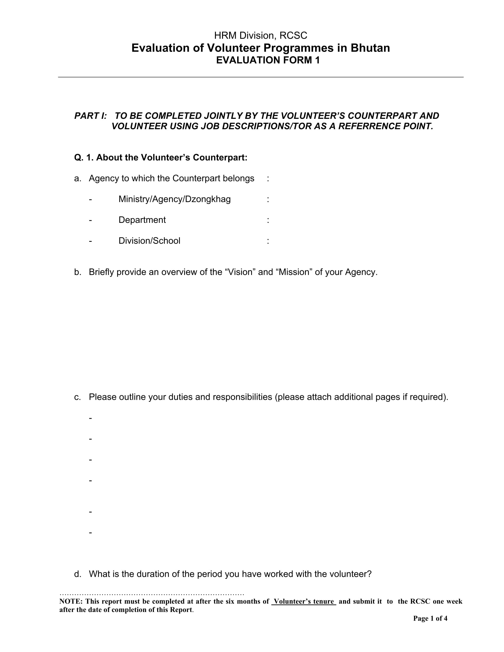 volunteer program evaluation form 1