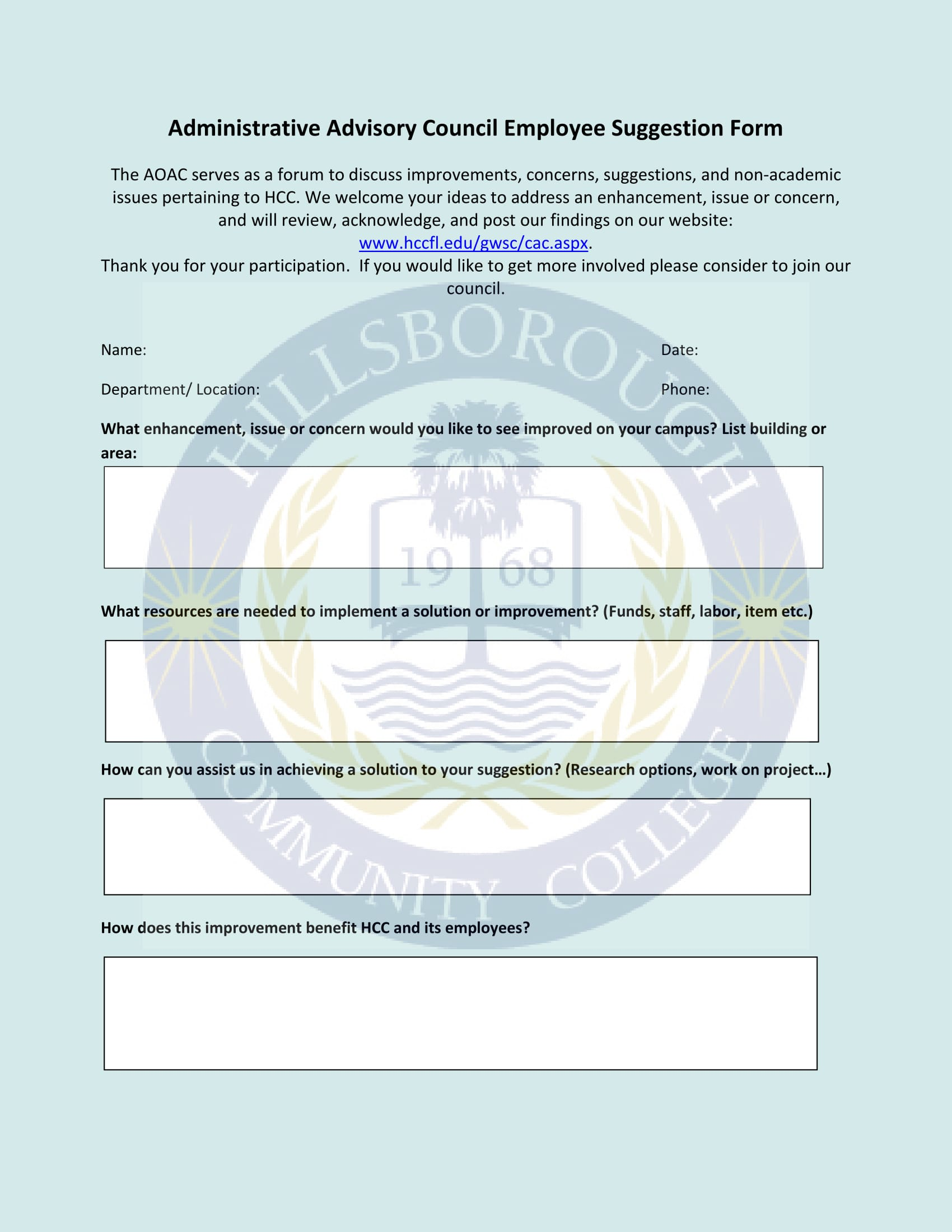 advisory council employee suggestion form 1