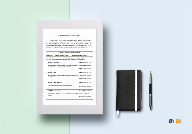 applicant appraisal form evaluation