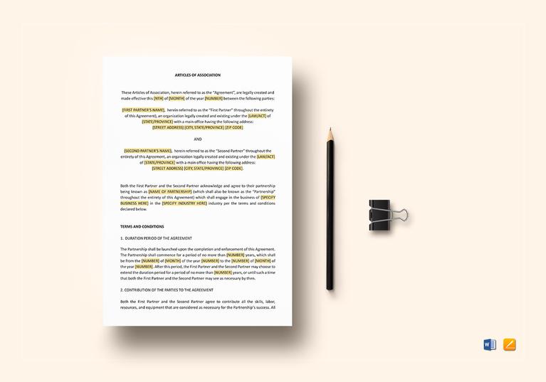 articles of association long form