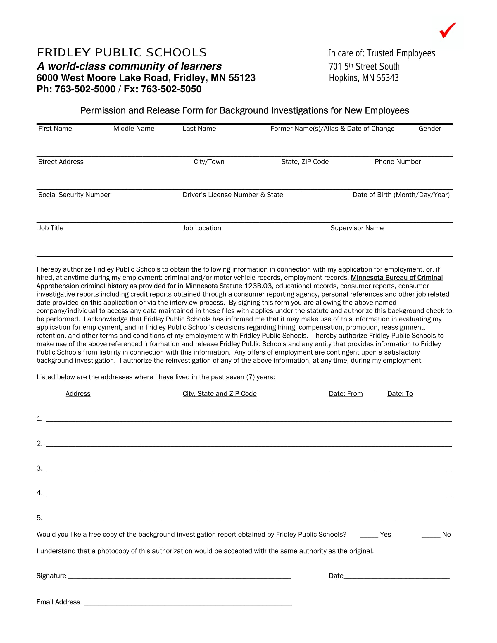 background check information form 2