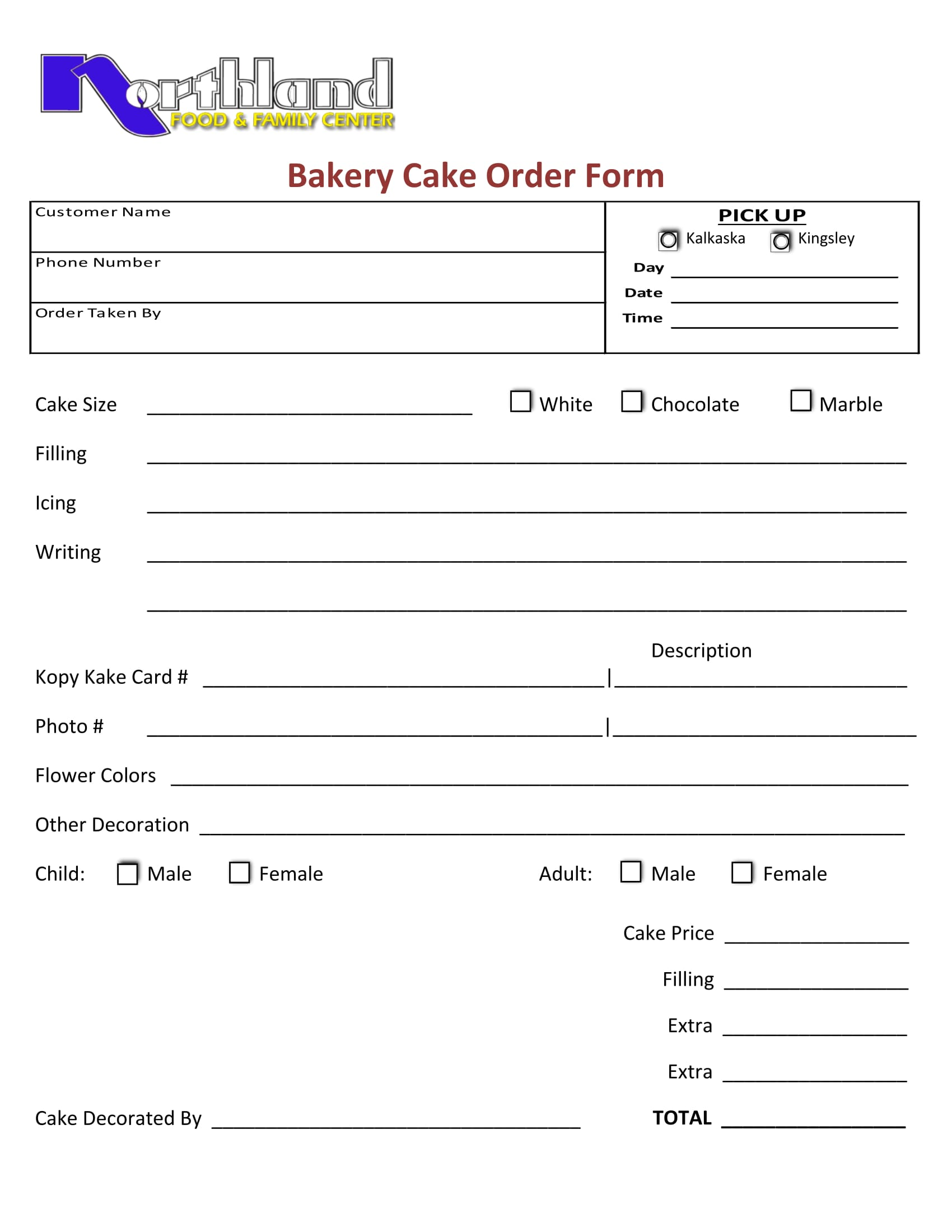 bakery order form