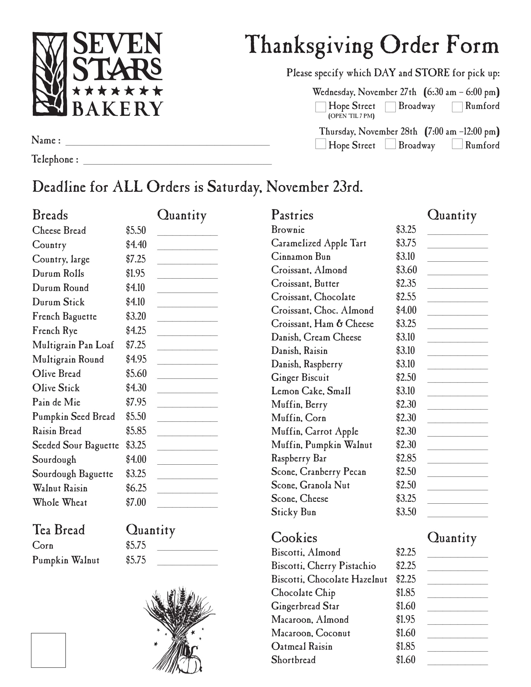 bakery thanksgiving order form 1