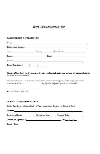basic credit card billing authorization form