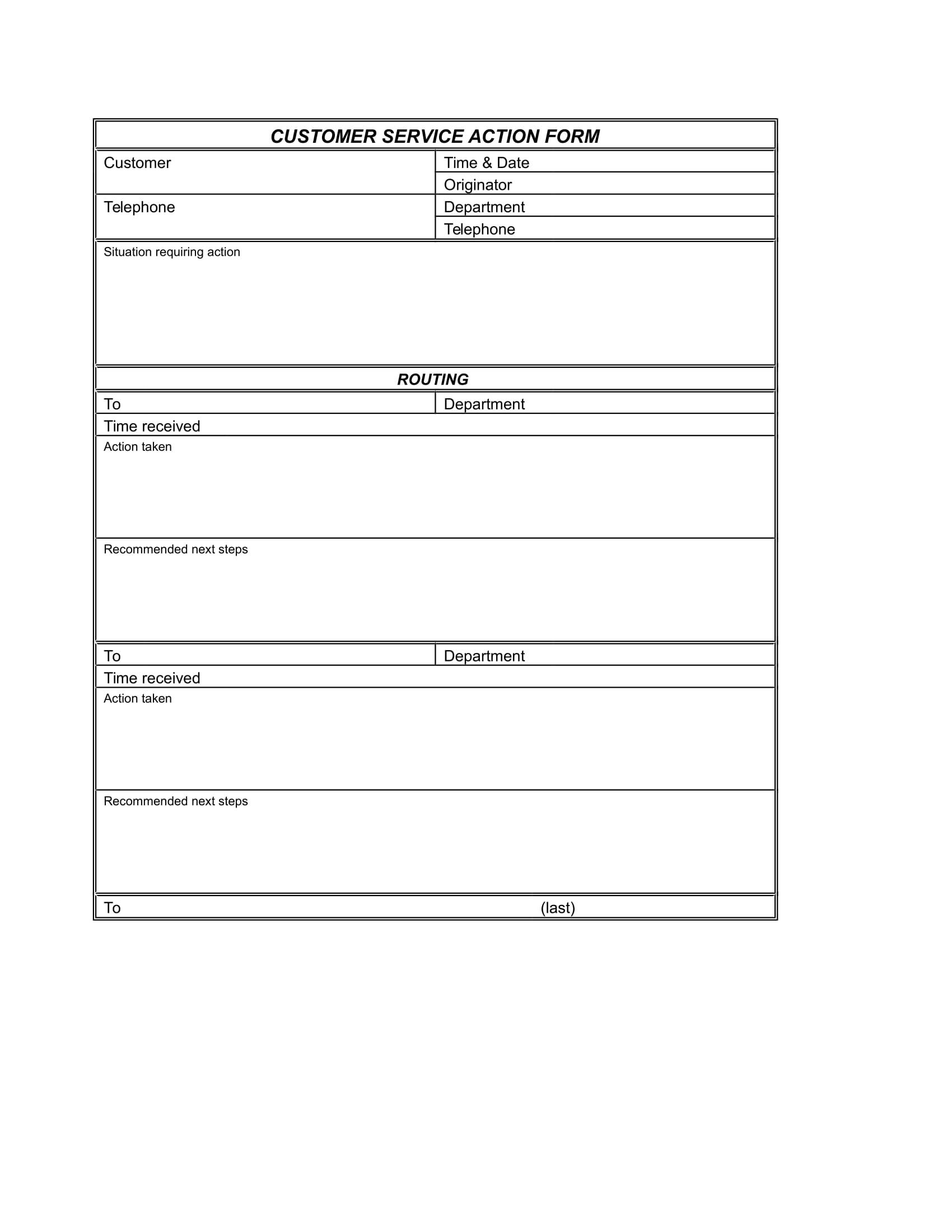 basic customer service action form 2