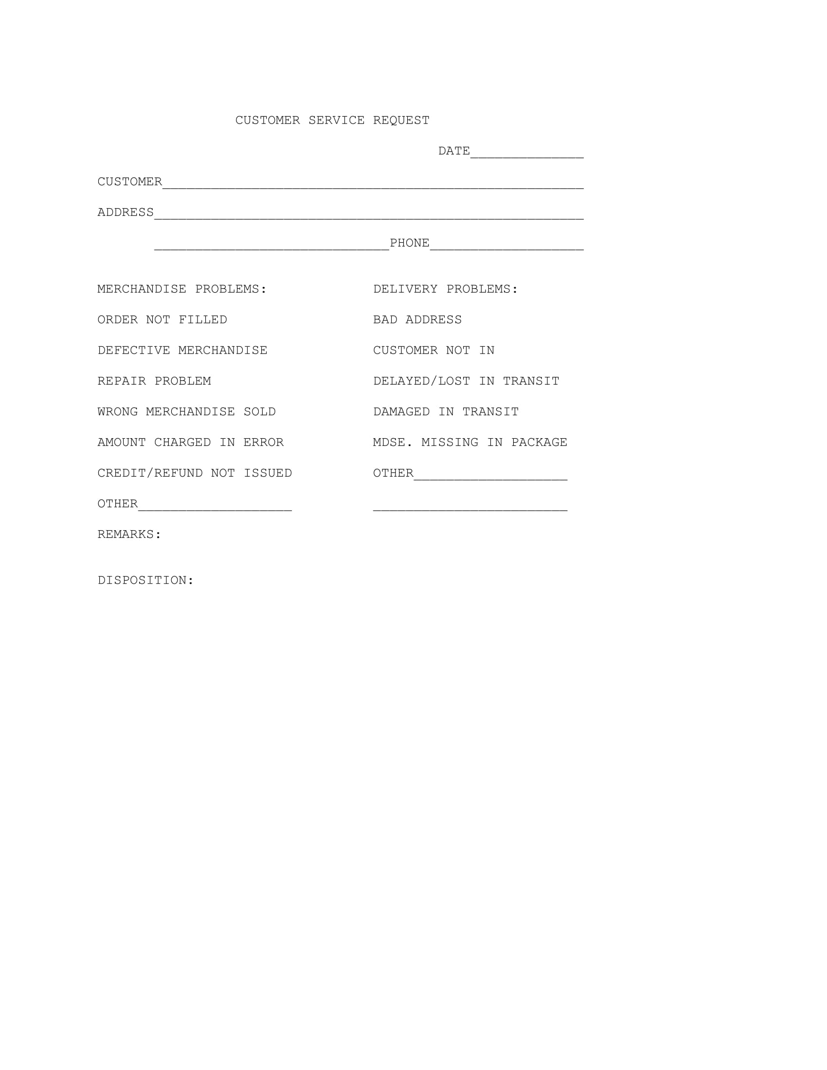 basic customer service request form 1
