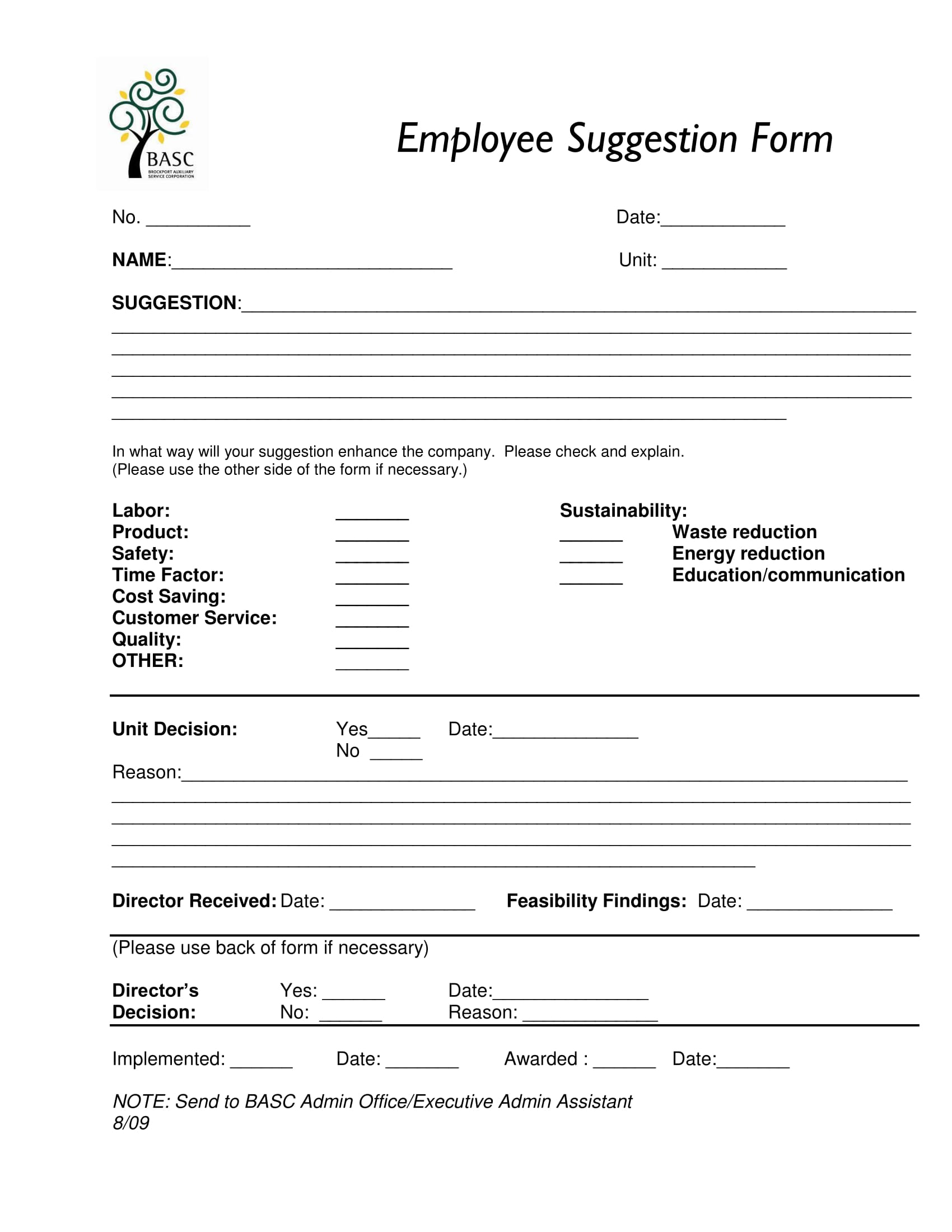 Basic Employee Suggestion Form