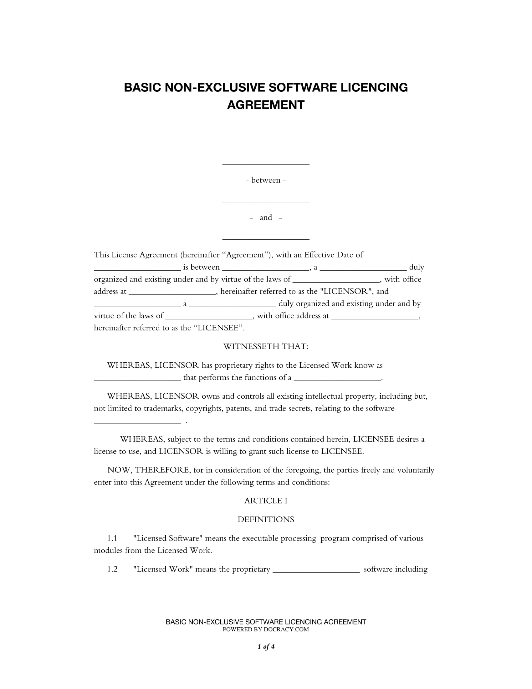 basic non exclusive software licencing agreement form 1