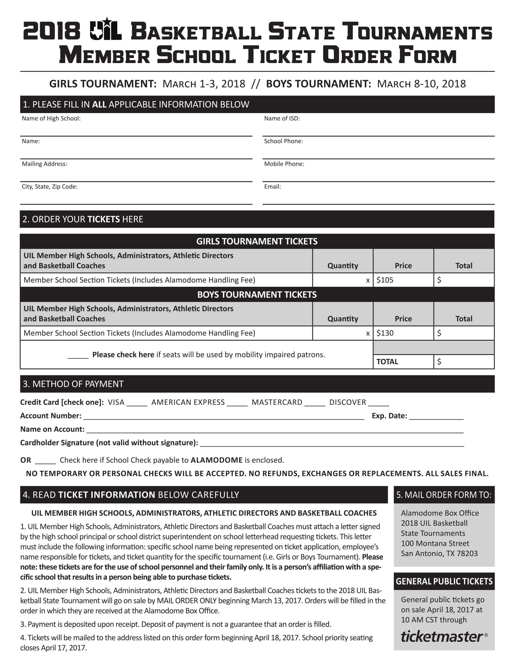 14+ Ticket Order Forms - Free PDF Format