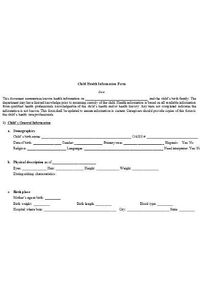 child health information form