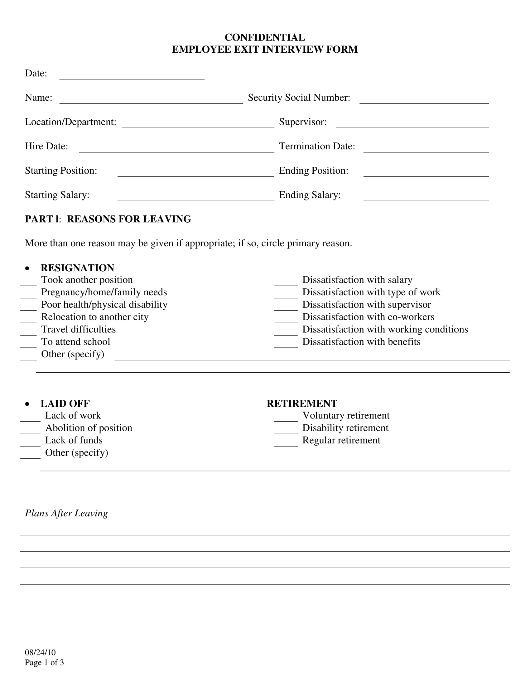 confidential employee exit interview form 1